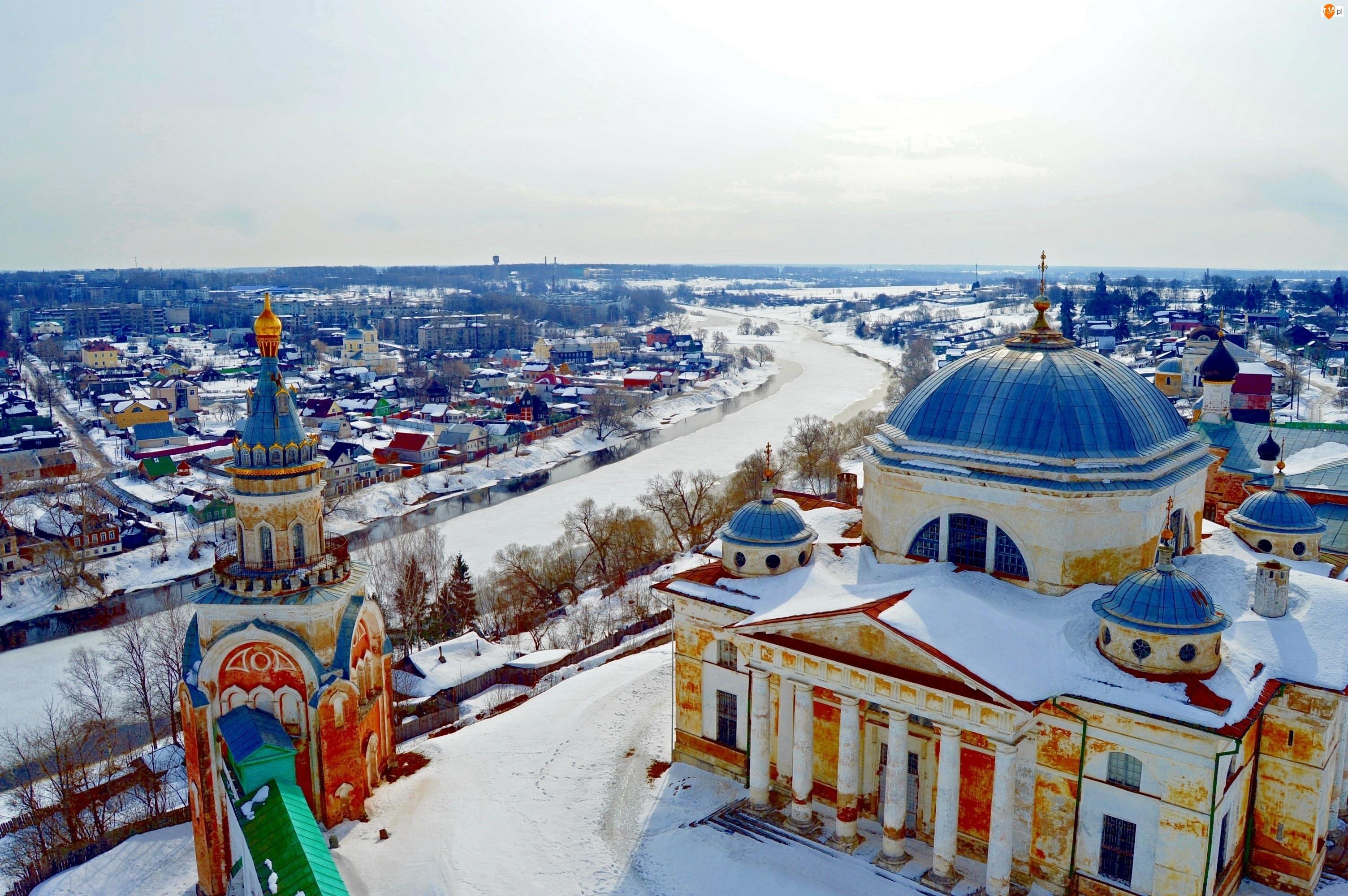 Miasto, Rosja, Rzeka, Śnieg