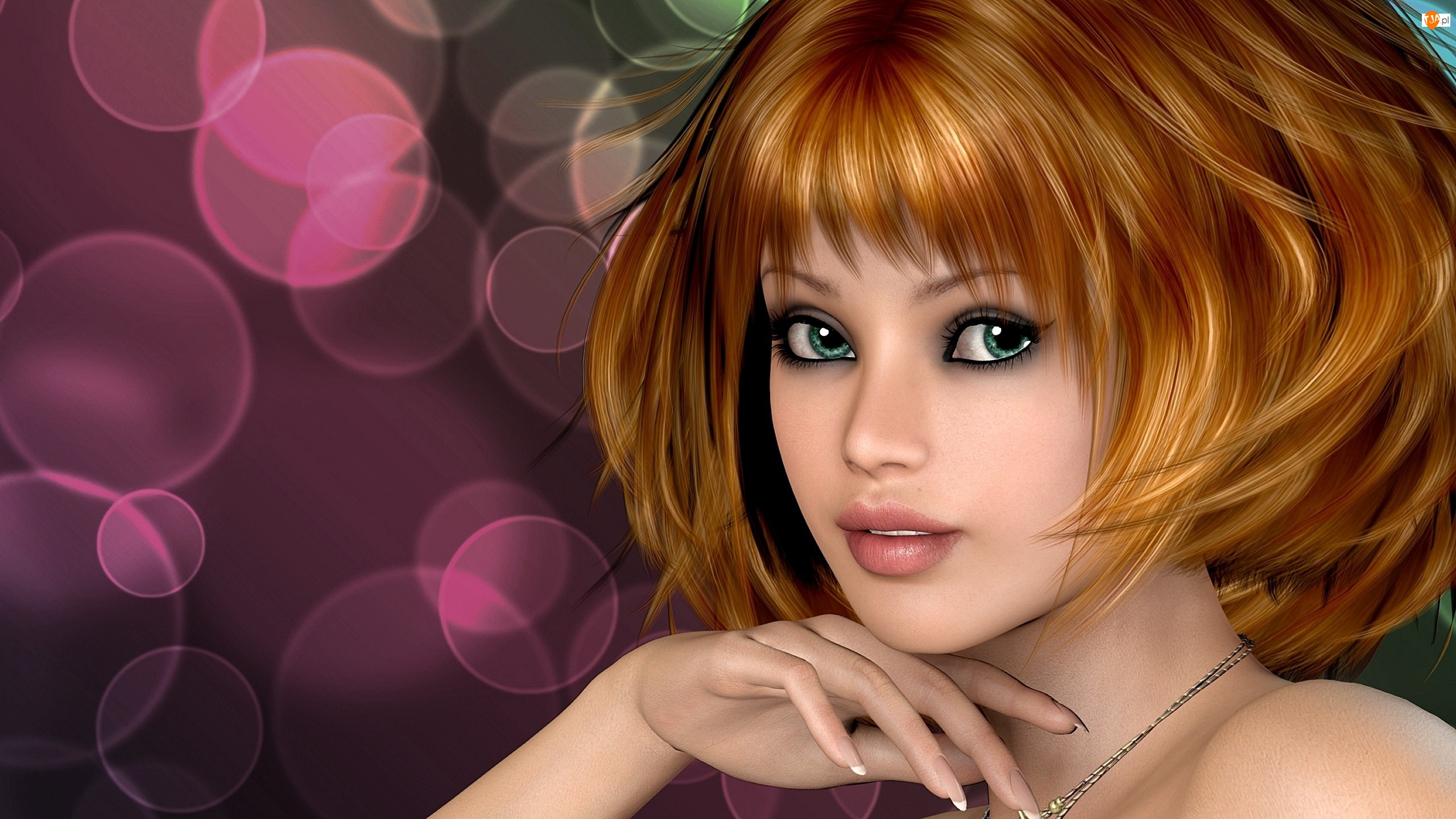 3D, Kobieta, Portret, Dłoń, Grafika