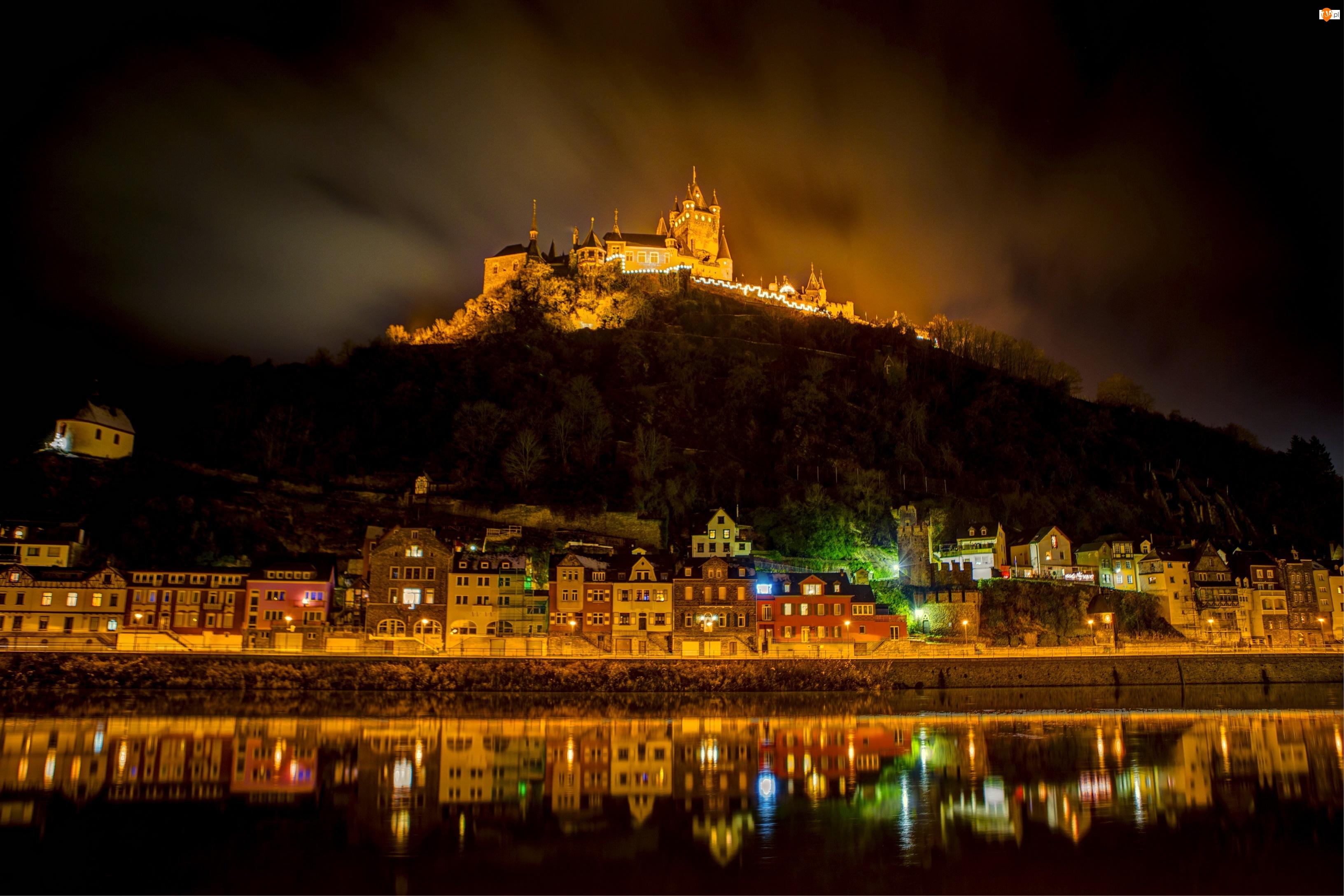 Zamek, Światła, Rzeka, Niemcy, Domy, Noc