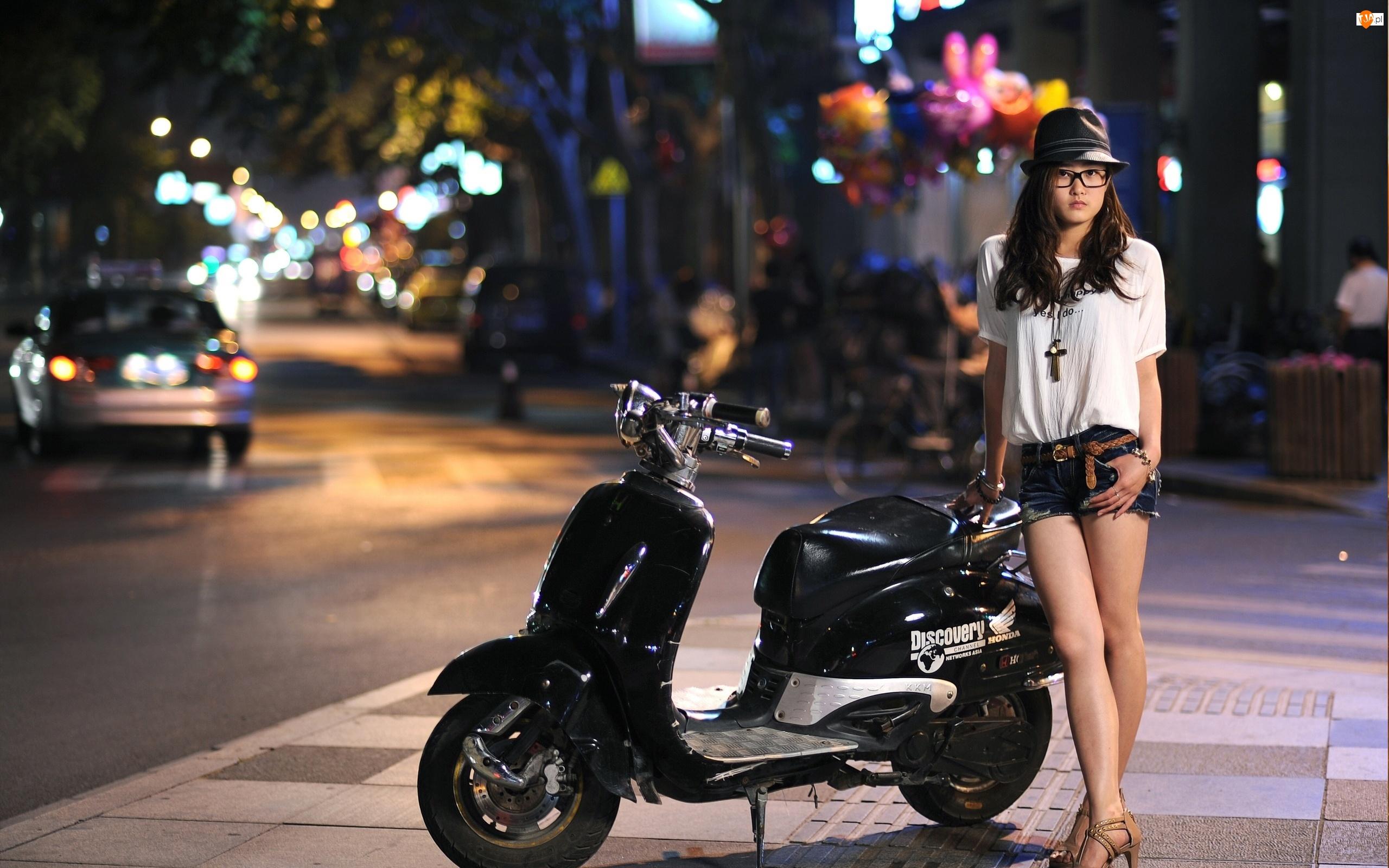 Honda, Kapelusz, Motocykl, Okulary, Channel, Kobieta