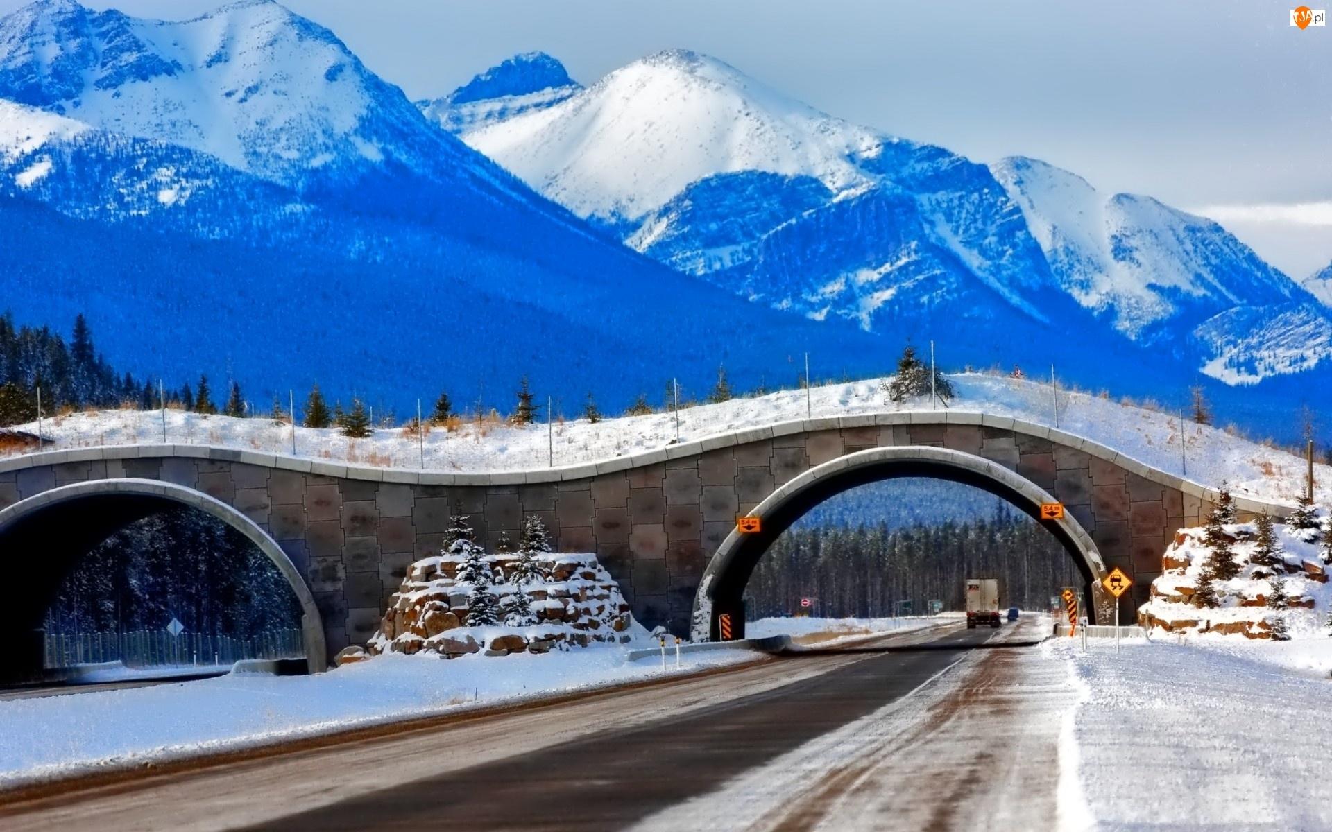 Zima, Droga, Góry, Tunele, Lasy