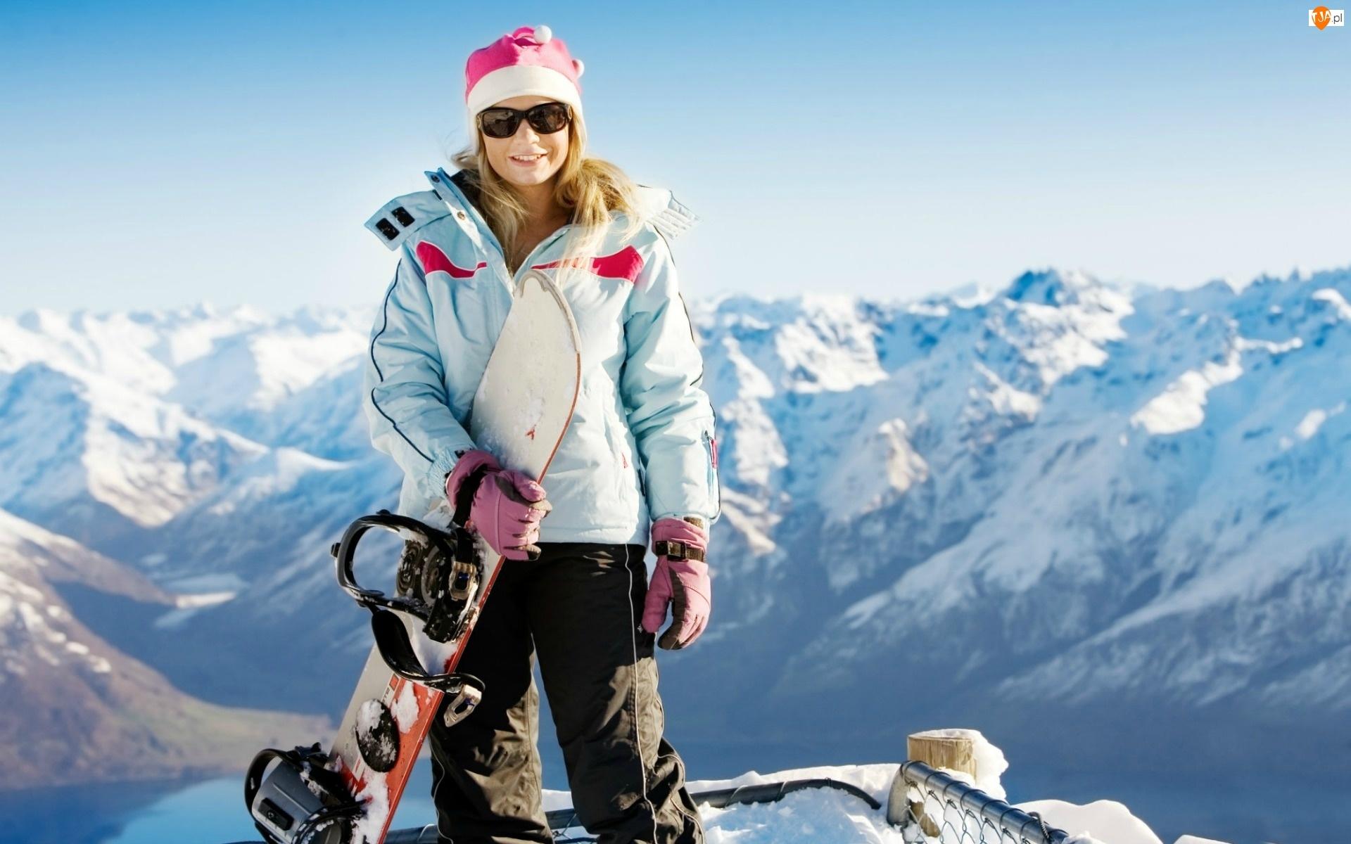 Zima, Dziewczyna, Snowboardowa, Deska, Góry