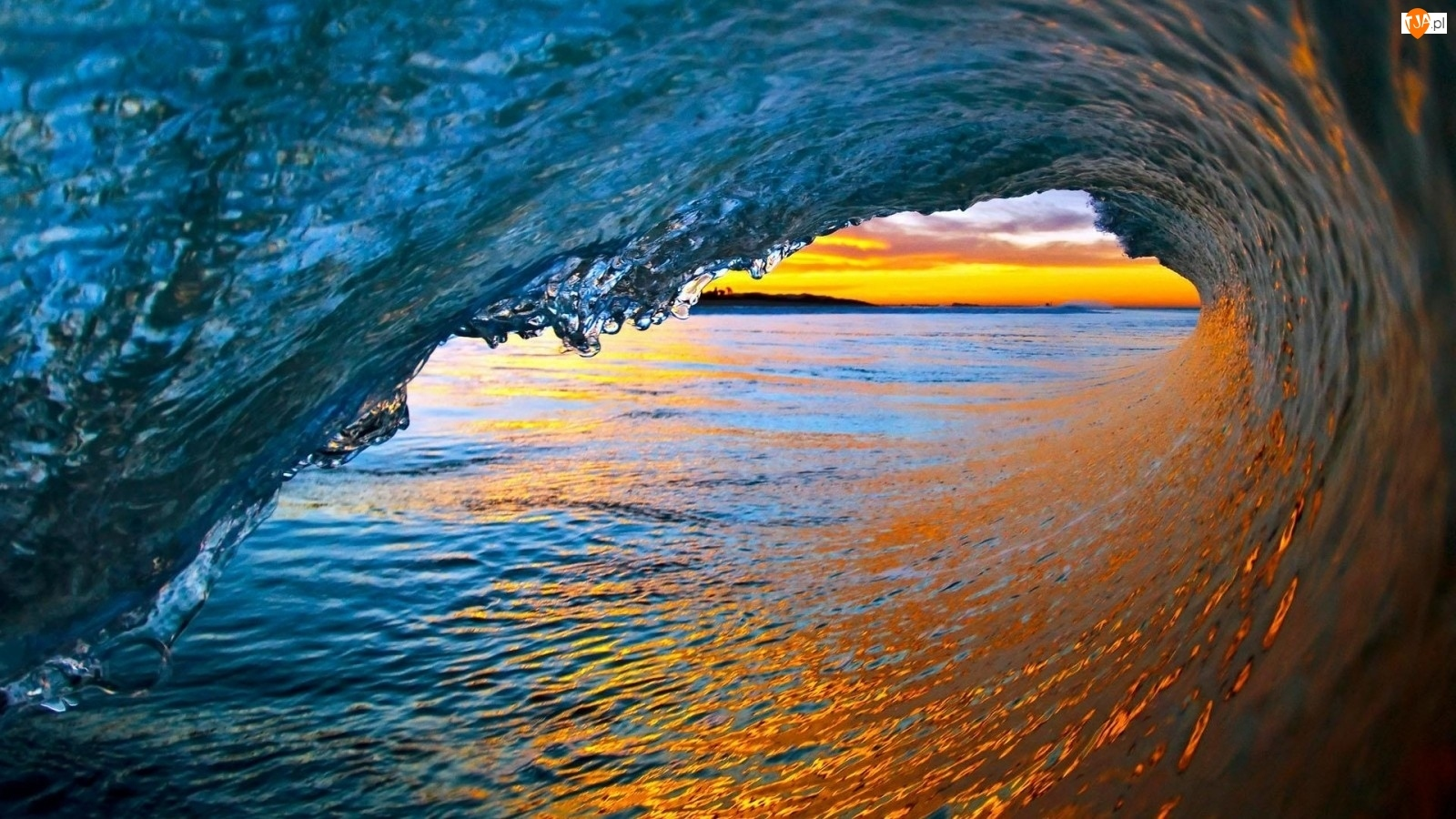 Zachód Słońca, Morze, Fala