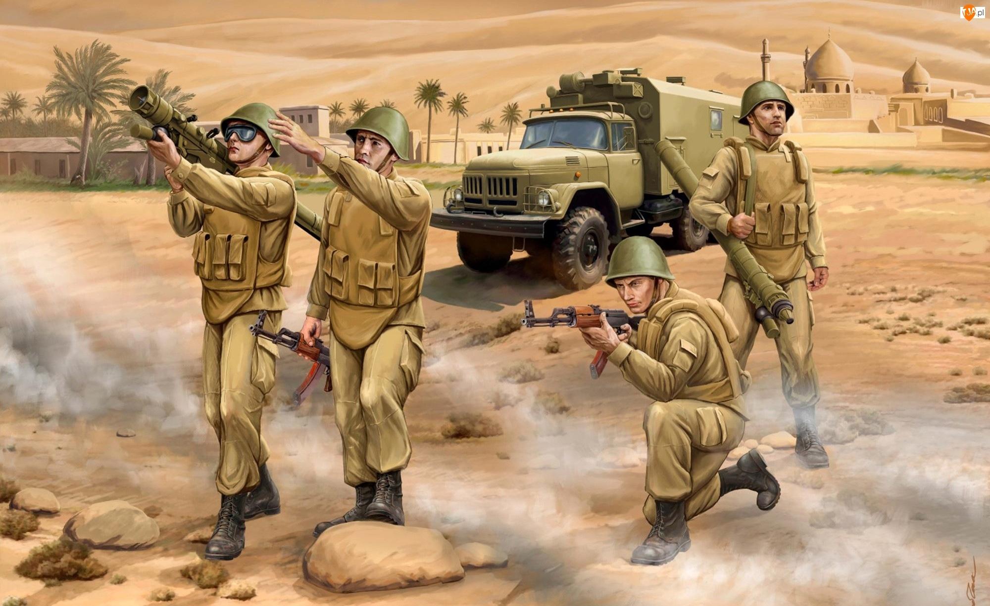 Żołnierze, Samochód, Broń, Walka