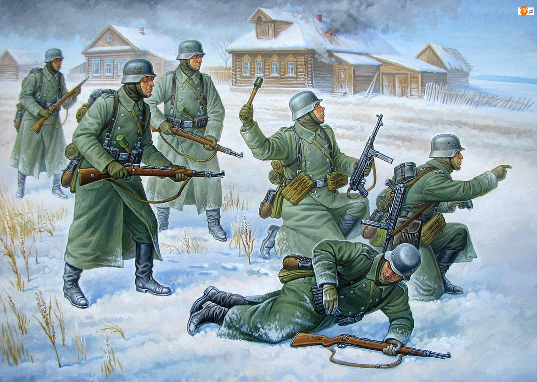 Żołnierze, Domy, Broń, Walka