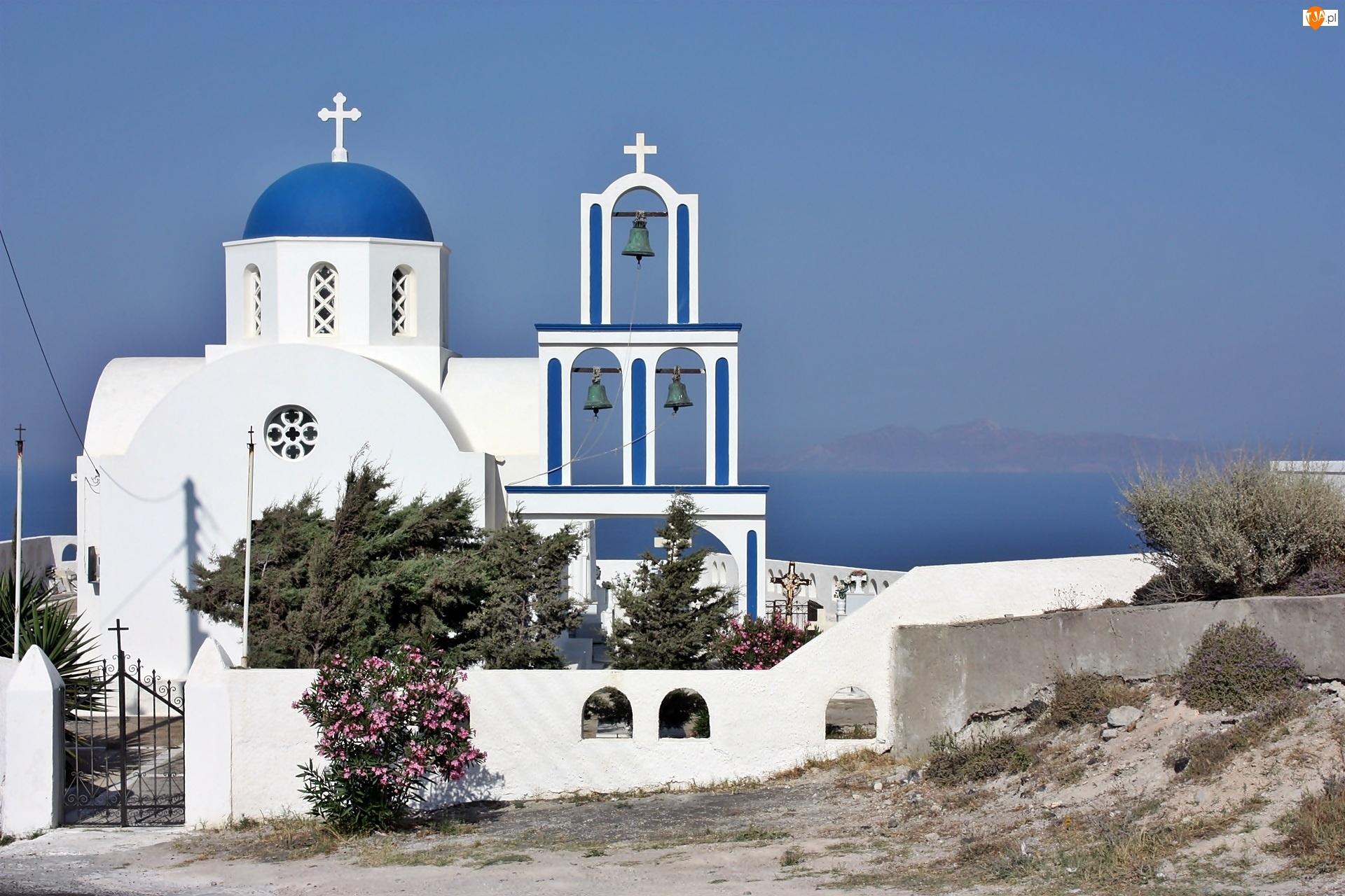 Grecja, Santorini, Morze, Cerkiew, Roślinność