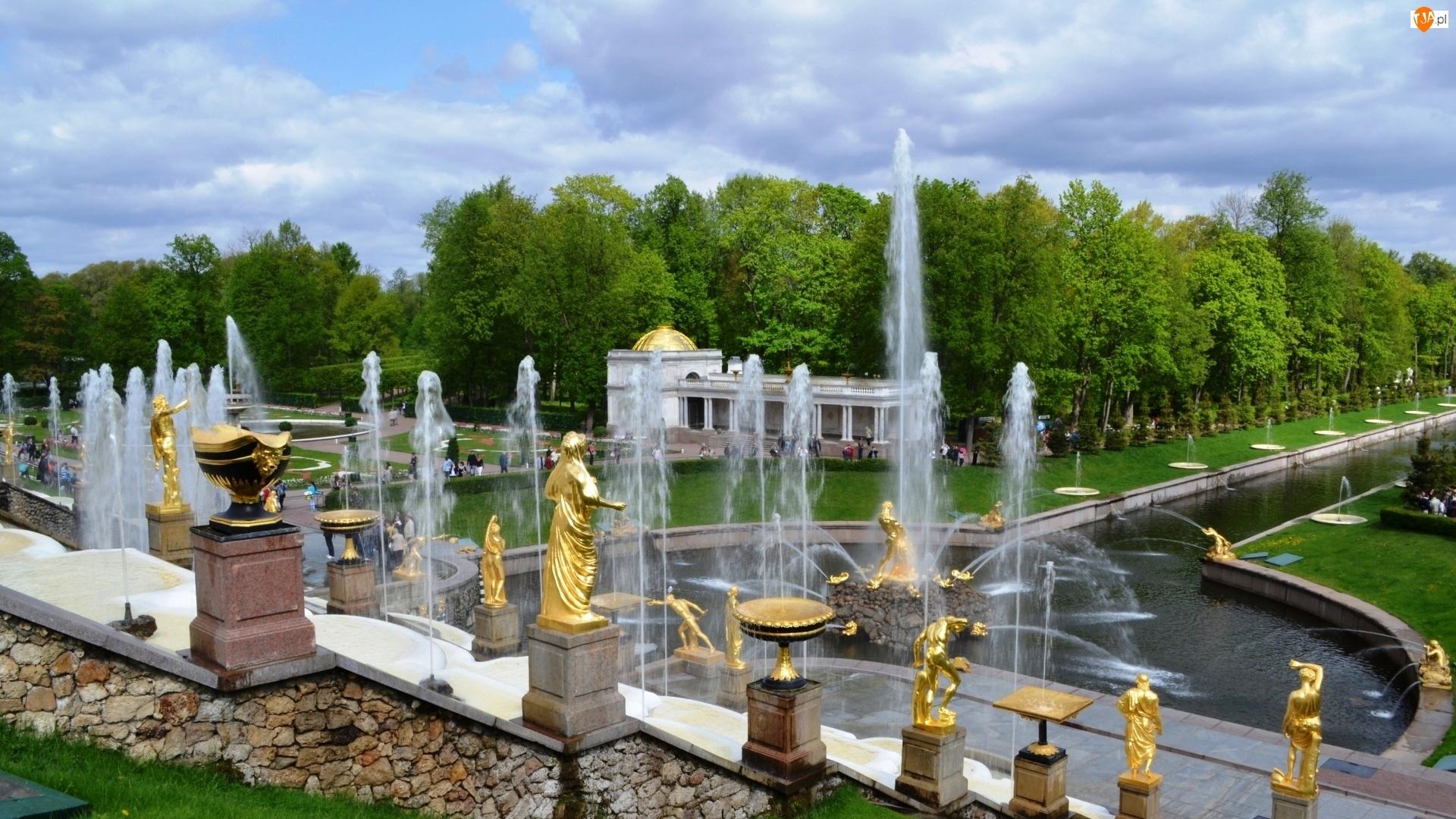 Park, Rosja, Fontanny, Posągi