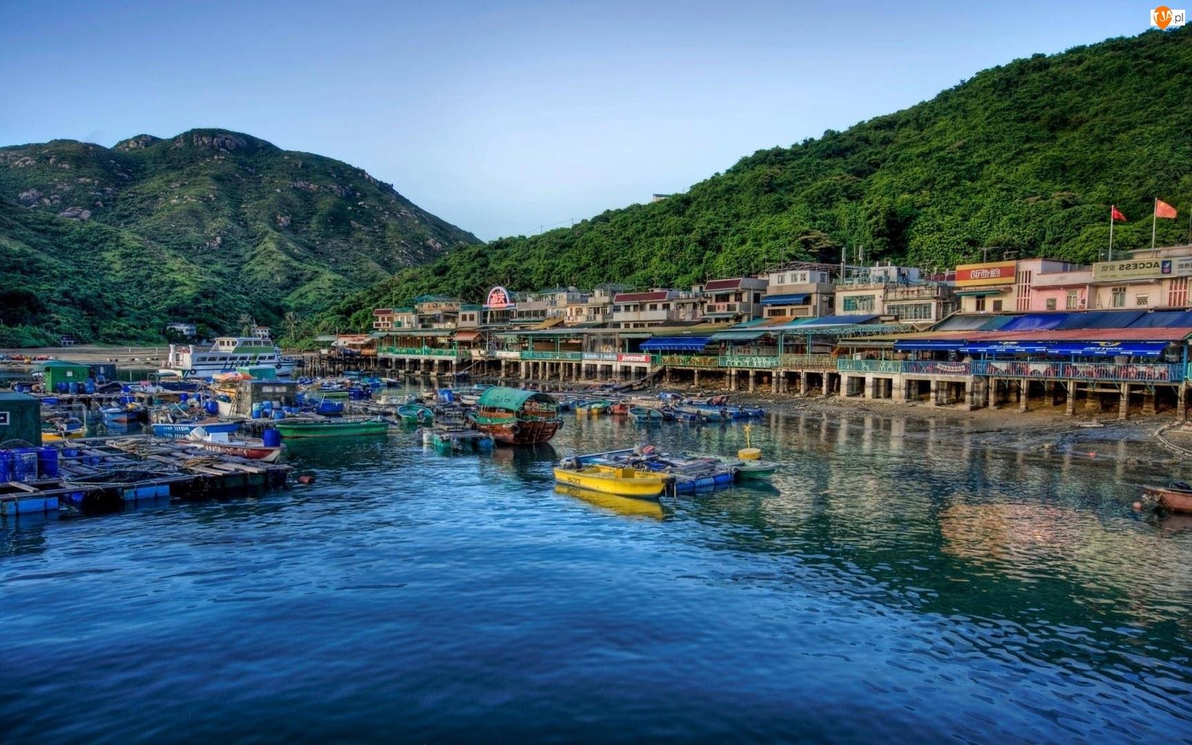 Domy, Morze, Wyspa, Hong Kong, Łódki, Lamma, Las