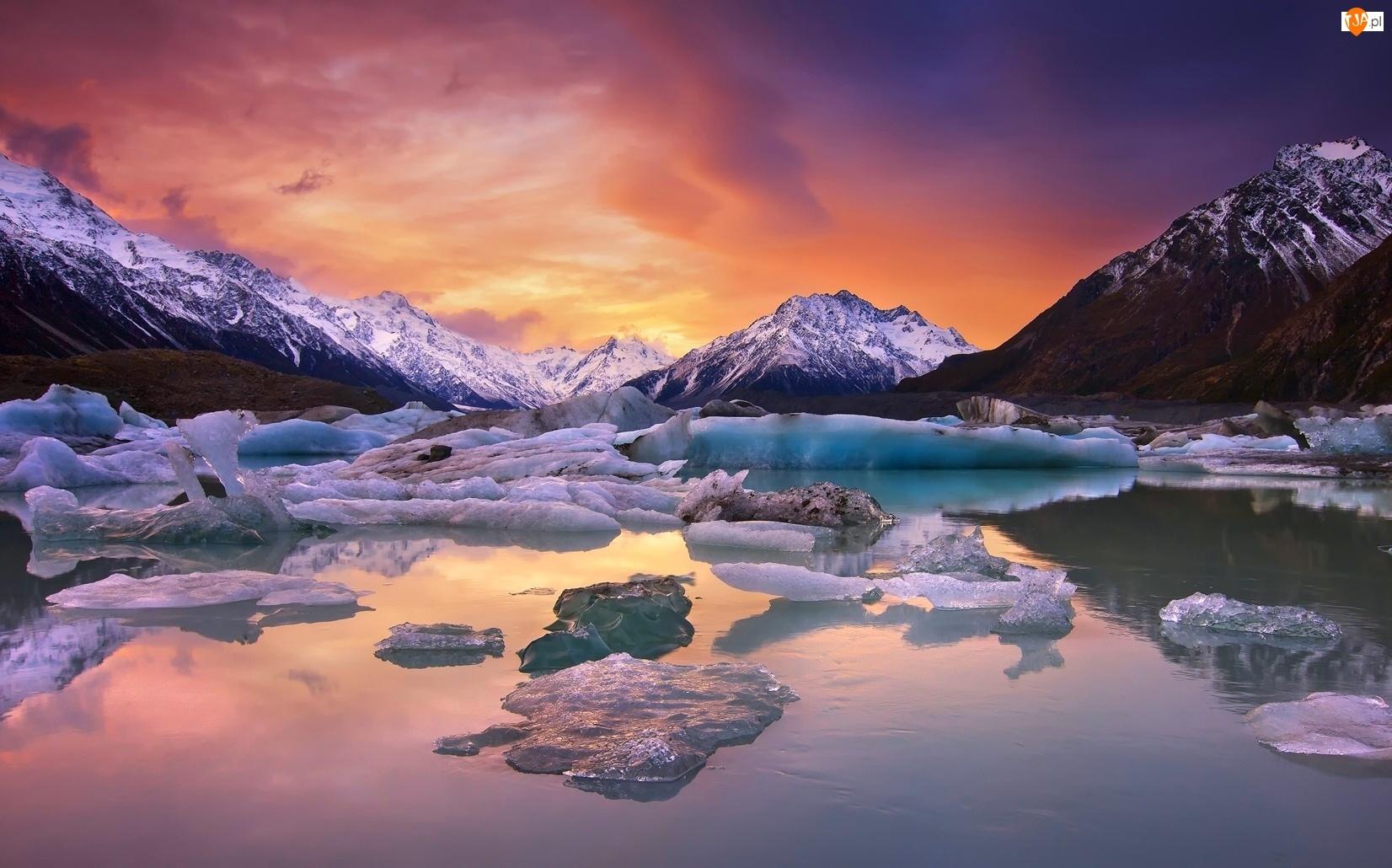Jezioro, Lodowe, Góry, Kry