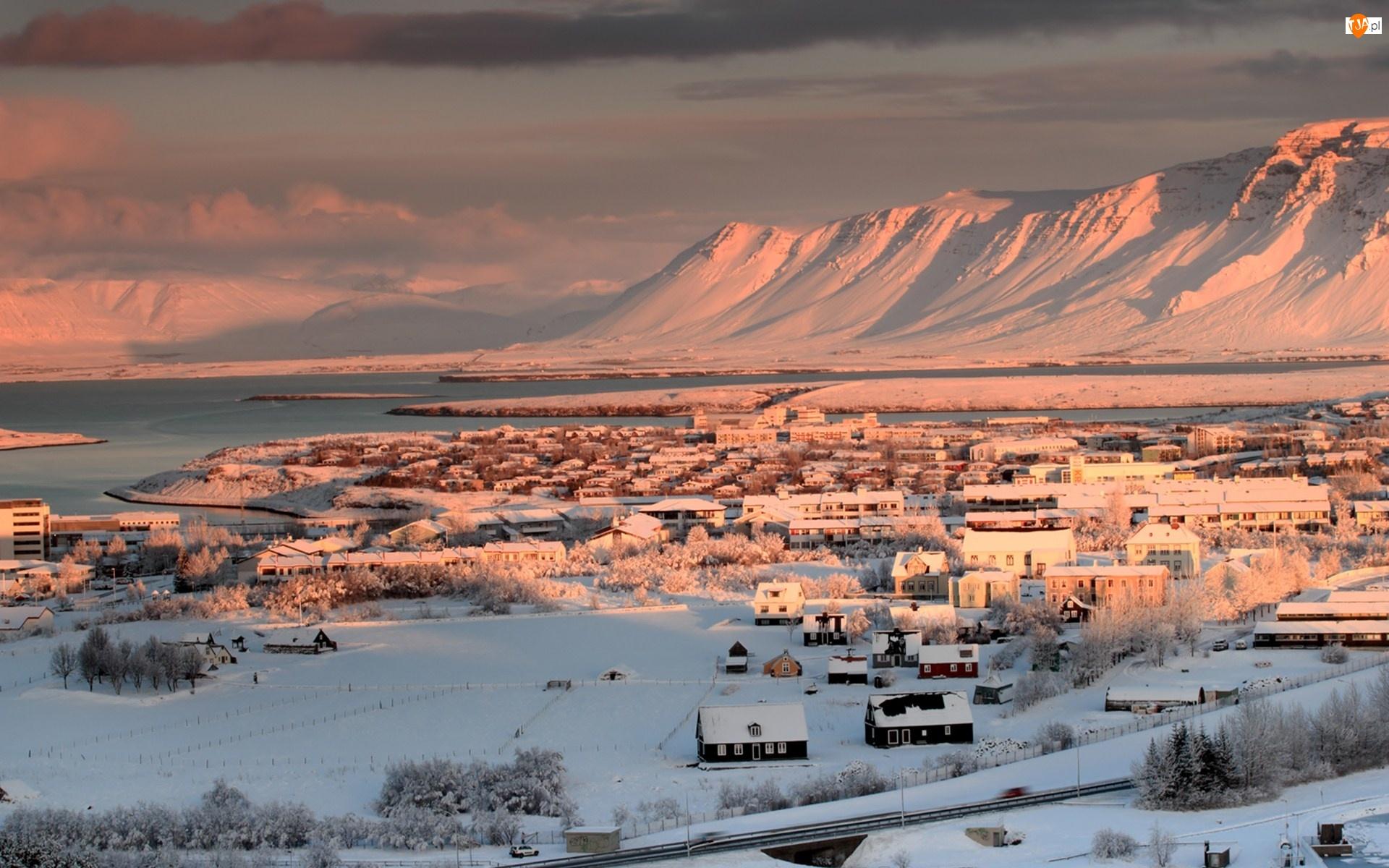 Zima, Islandia, Miasto, Reykjavik, Góry
