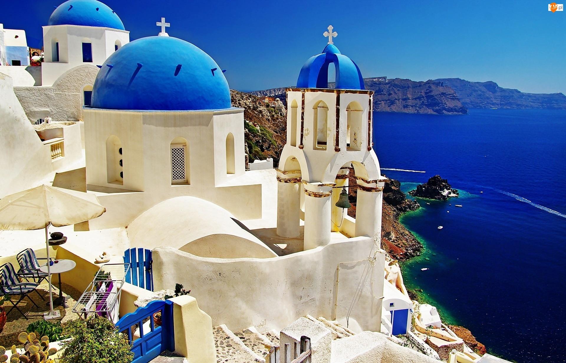 Santorini, Grecja, Morze, Cerkiew