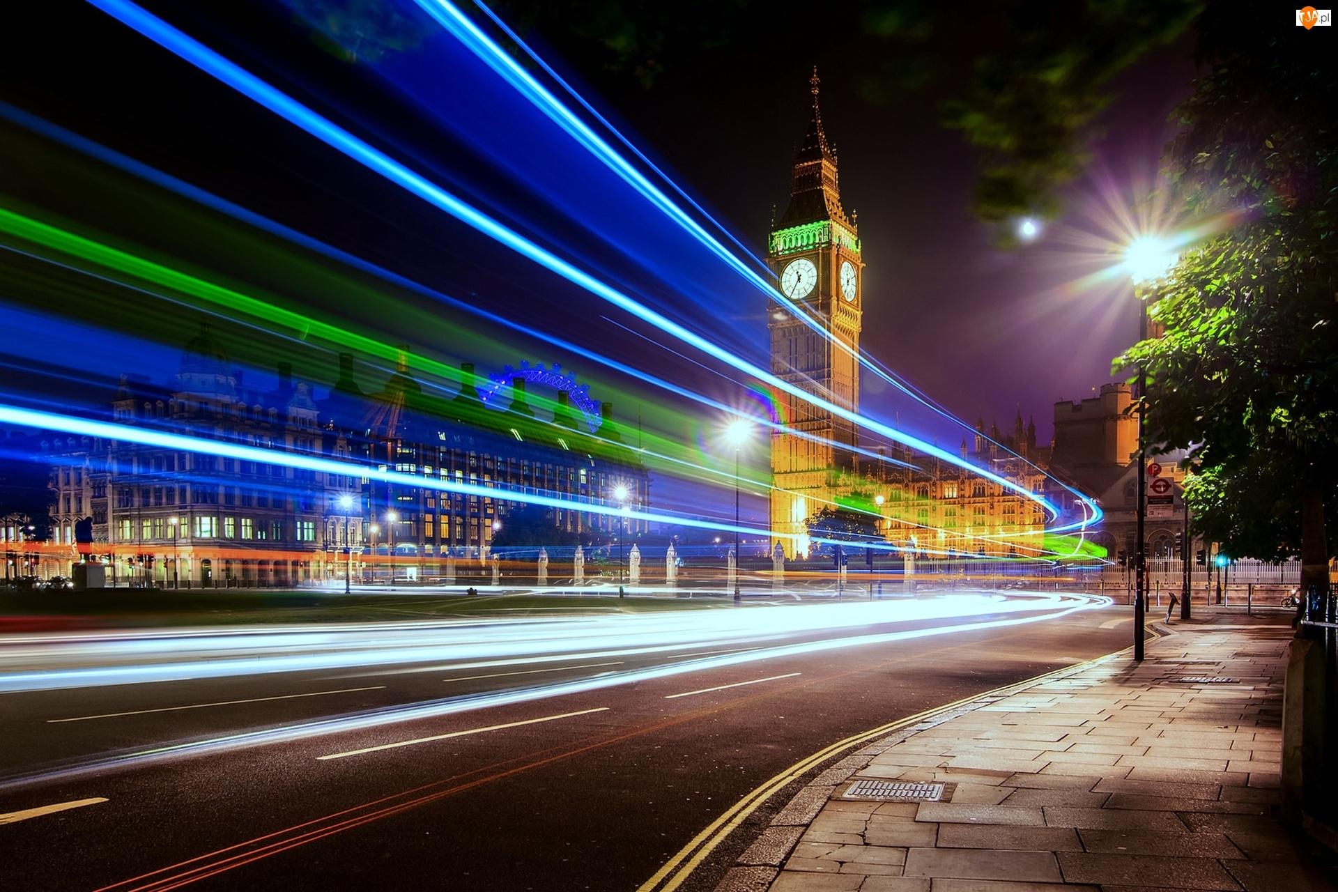 Prędkość, Londyn, Ulica, Anglia, Światła, Big Ben
