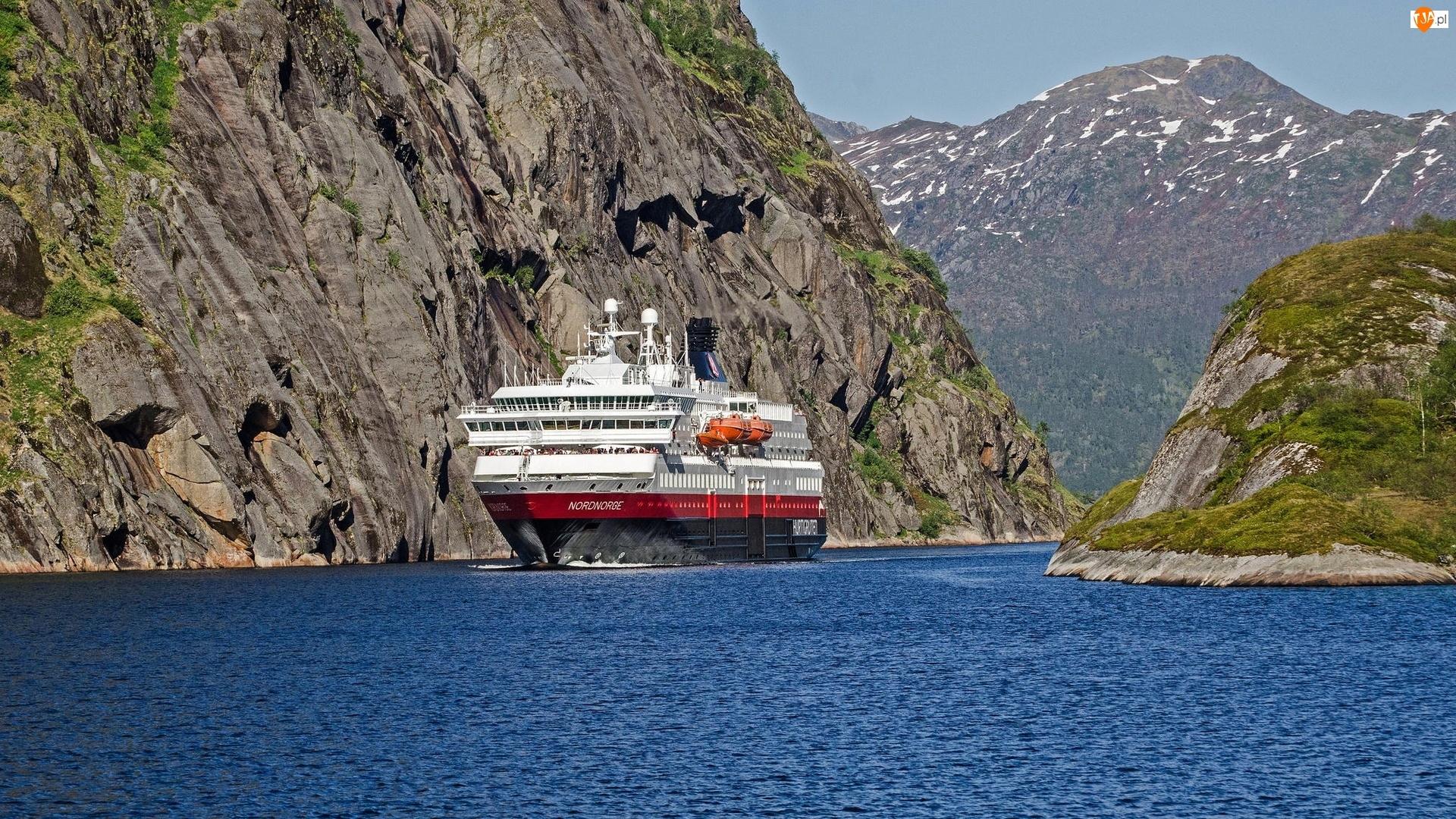 Norwegia, Statek, Góry, Morze, Skały