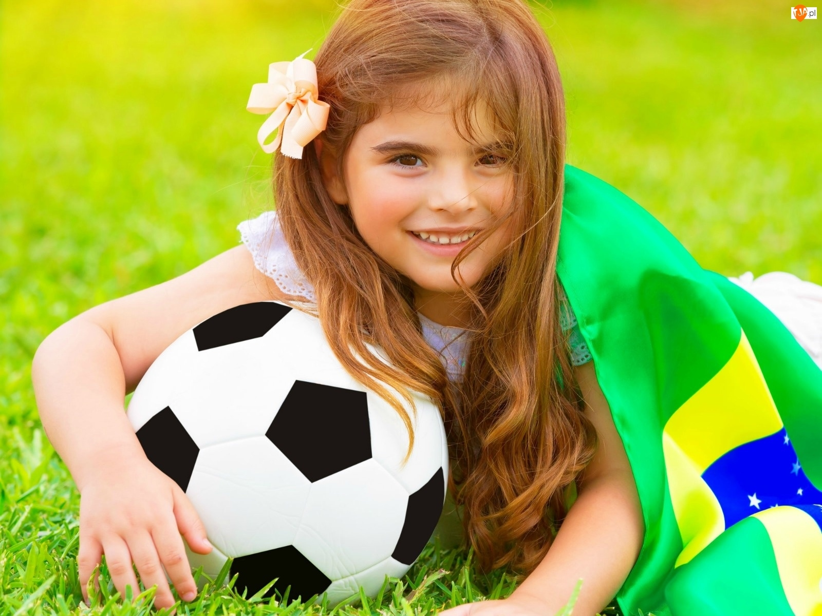 Świata, Brazylijska, Piłka, Dziewczynka, 2014, Flaga, Mistrzostwa