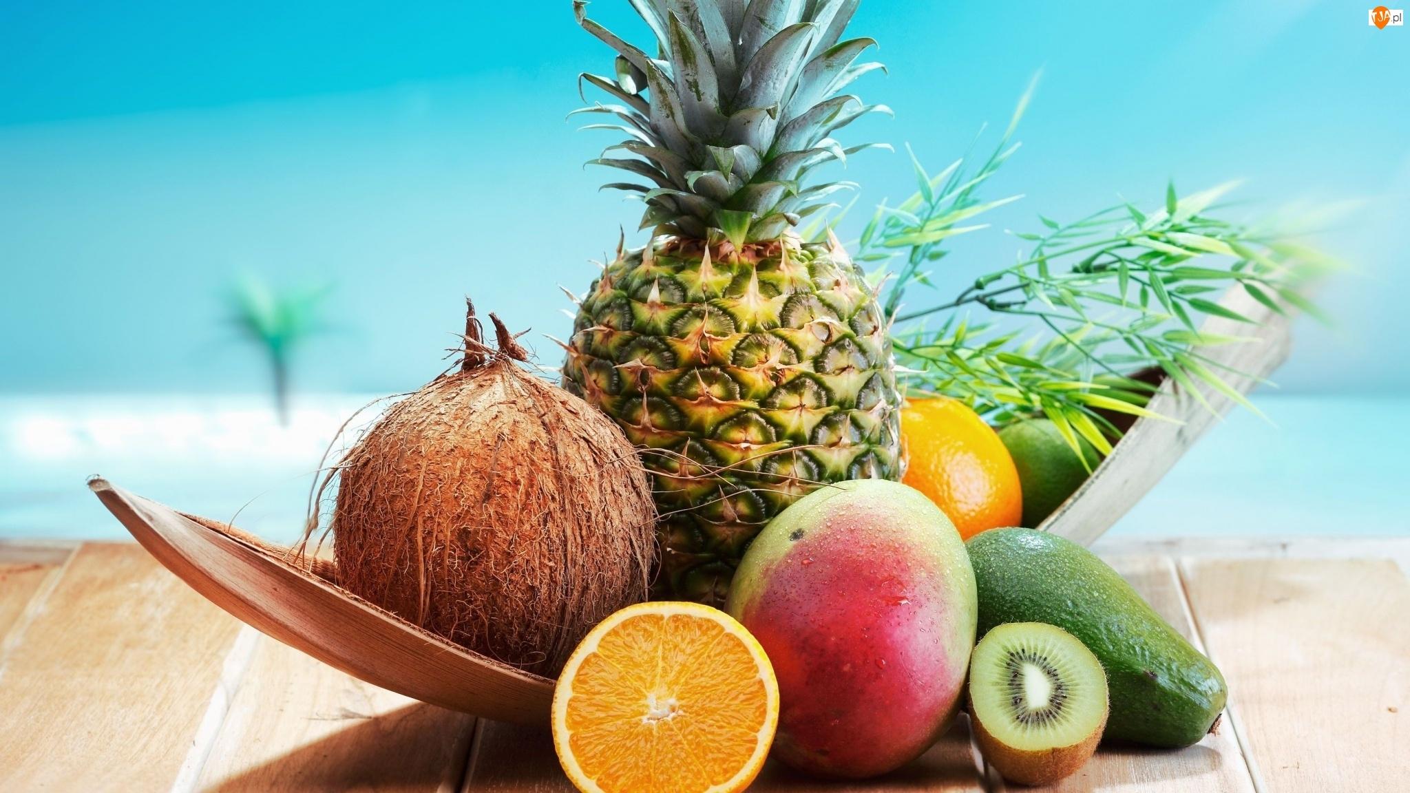 Mango, Kiwi, Awokado, Owoce, Pomarańcza, Ananas, Kokos