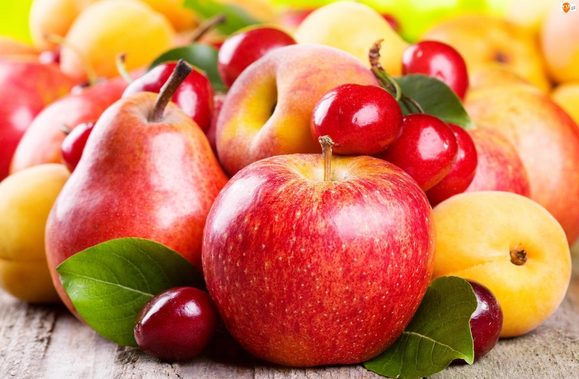 Owoce, Czeresnie, Jablka, Gruszki