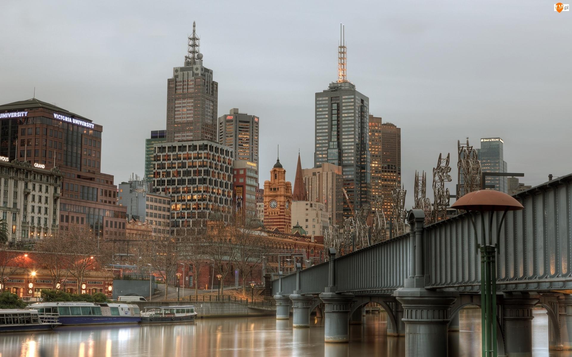 Most, Australia, Miasto, Melbourne, Rzeka
