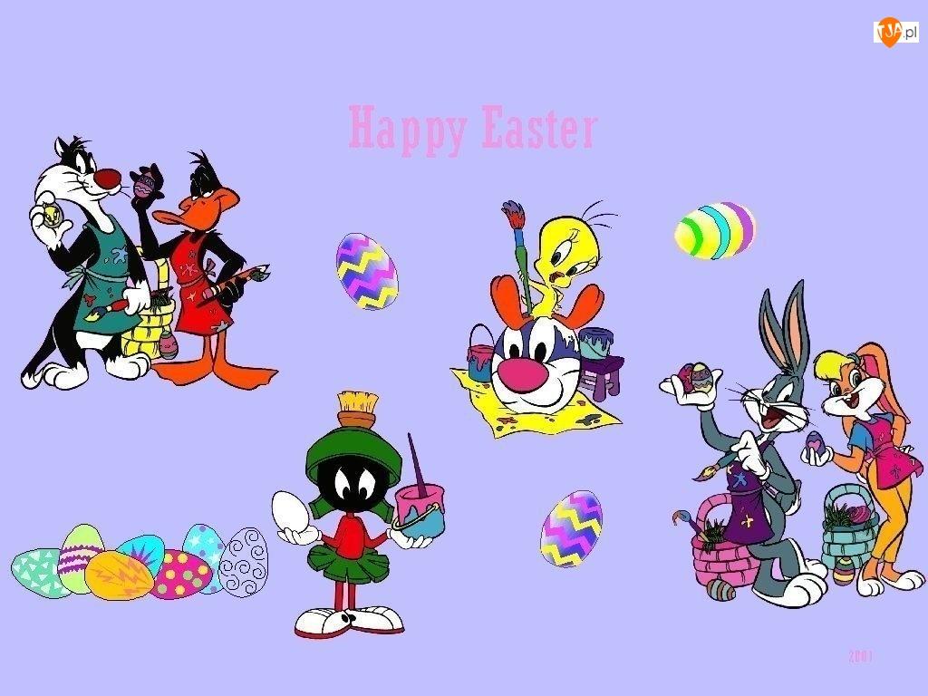 Wielkanoc, królik baks, tweety , kaczor dafy
