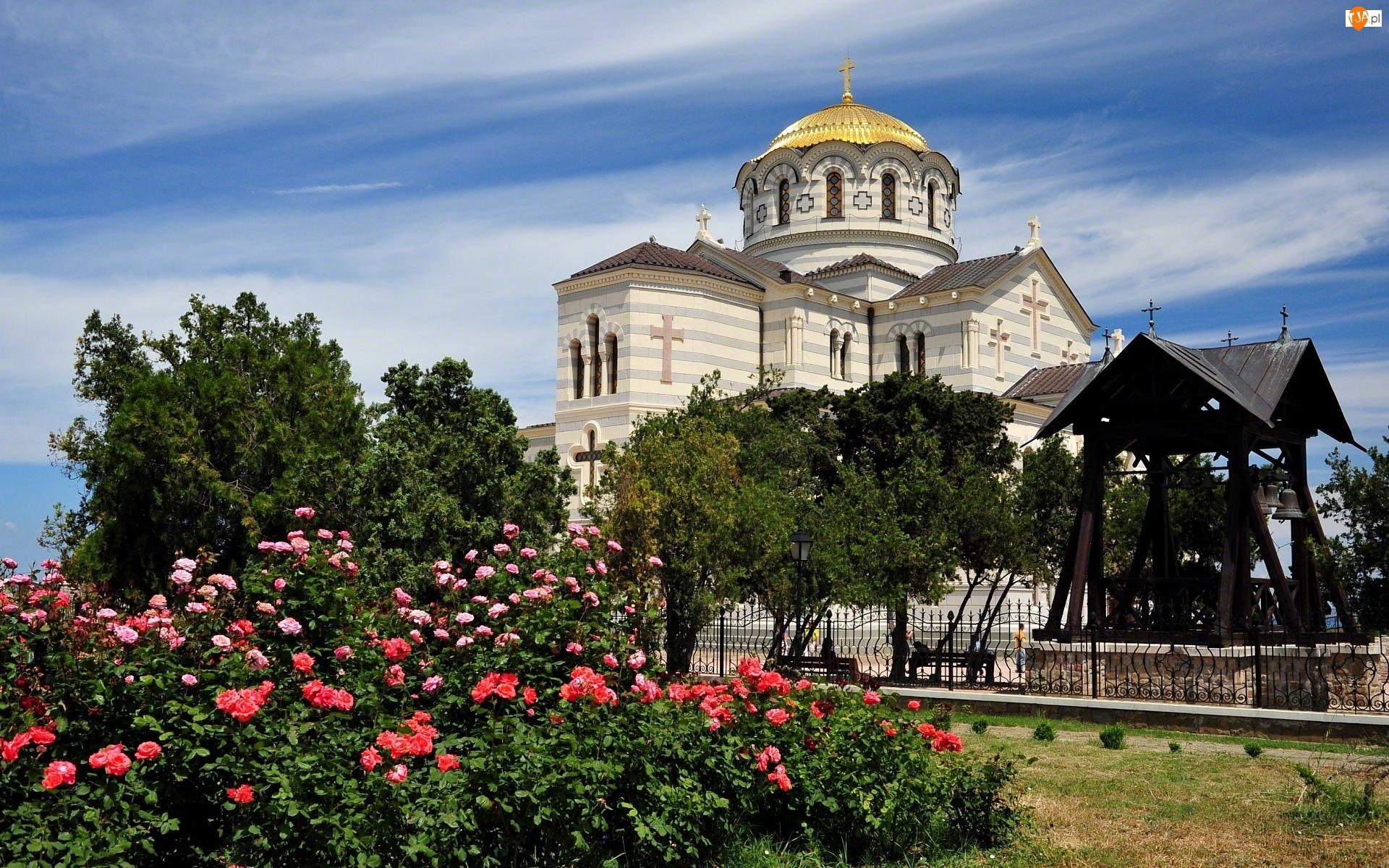 Cerkiew, Rosja, Ogród, Kwiaty