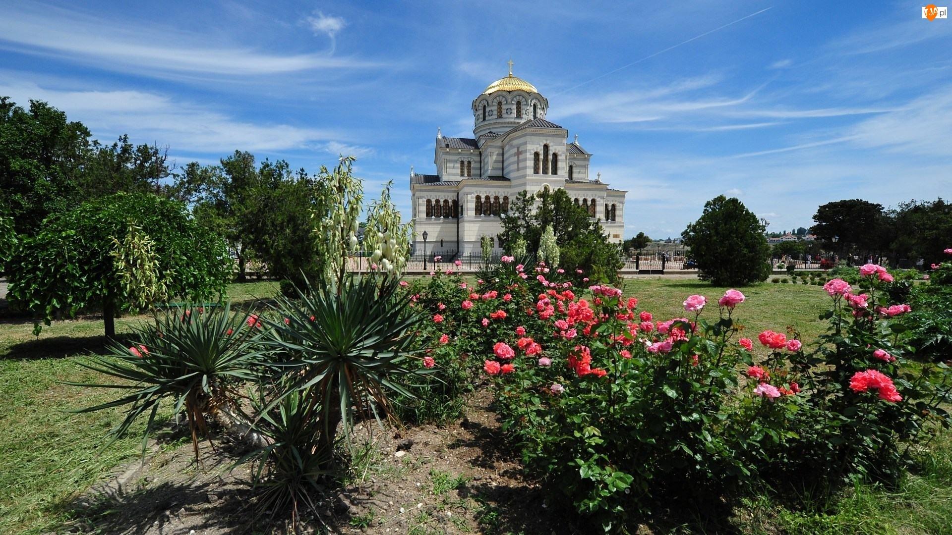 Ogród, Drzewa, Ukraina, Krzewy, Cerkiew, Kwiaty
