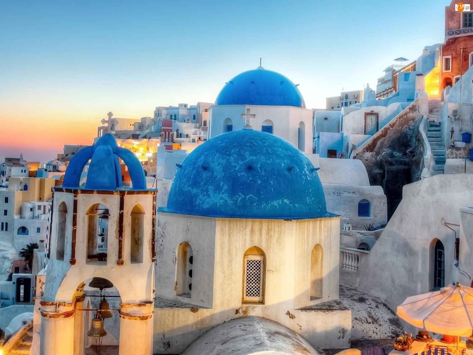 Kopuły, Cerkiew, Grecja, Santorini, Niebieskie