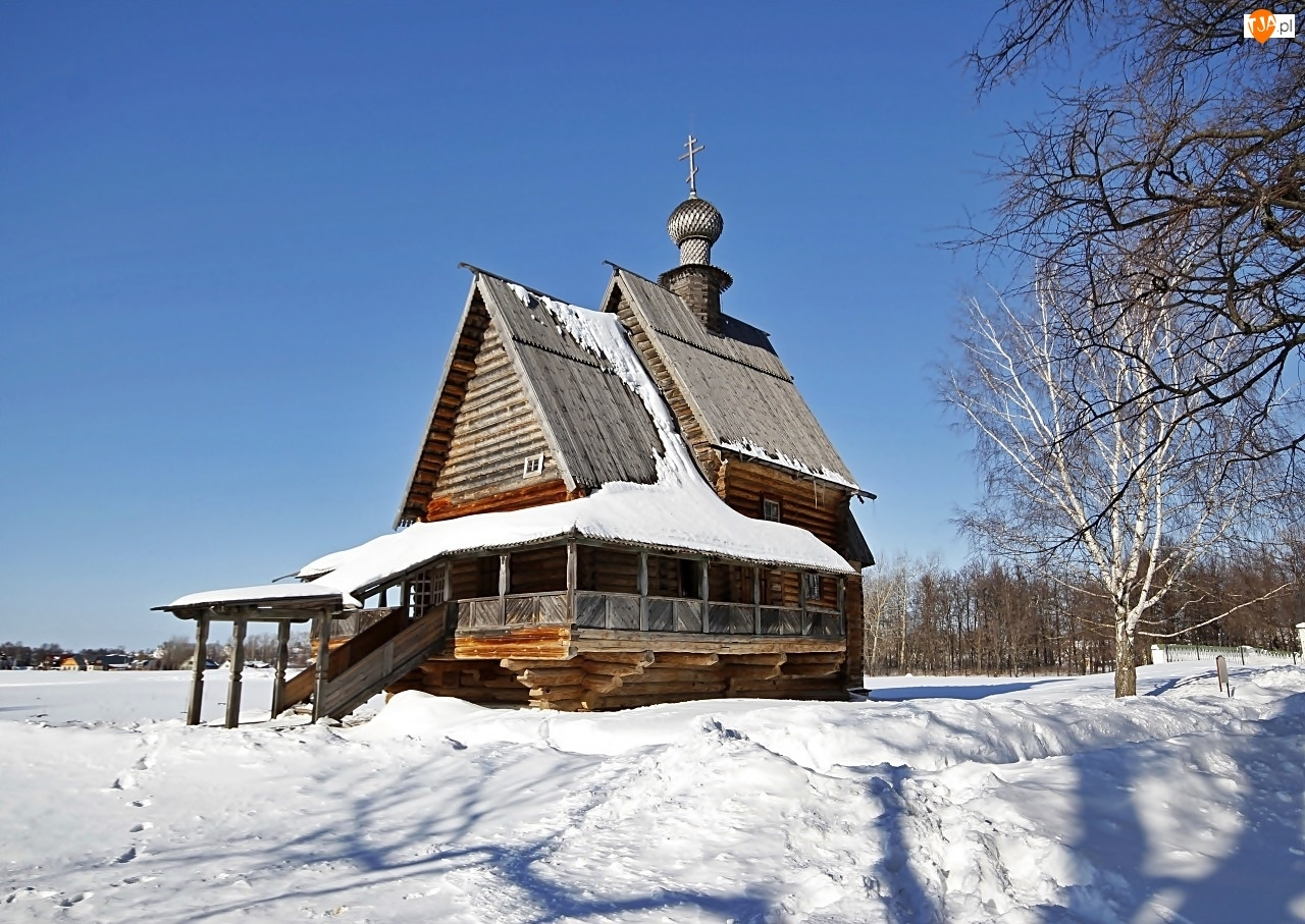 Drzewa, Świętego, Zima, Mikołaja, Śnieg, Cerkiew