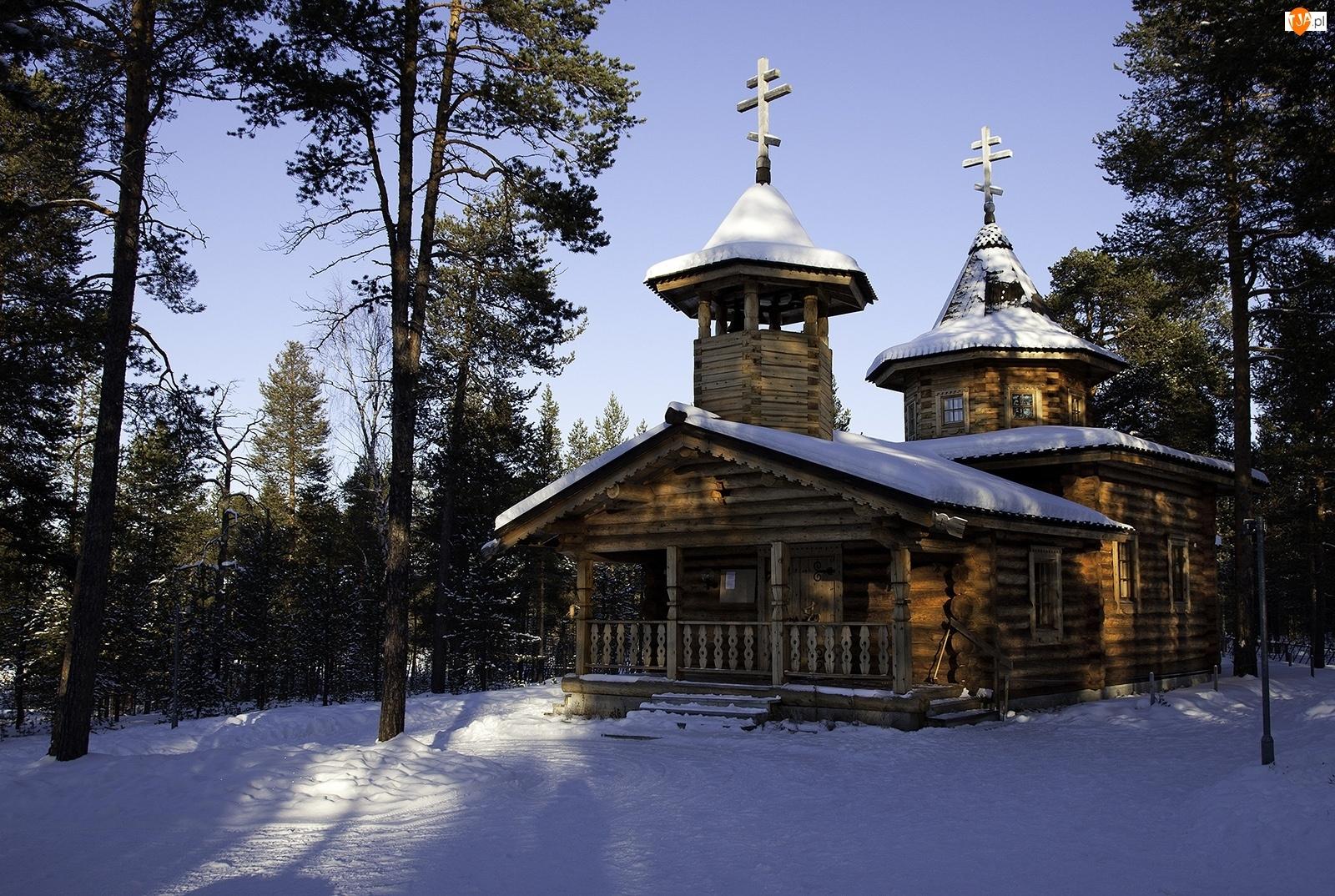 Zima, Cerkiew, Śnieg, Las