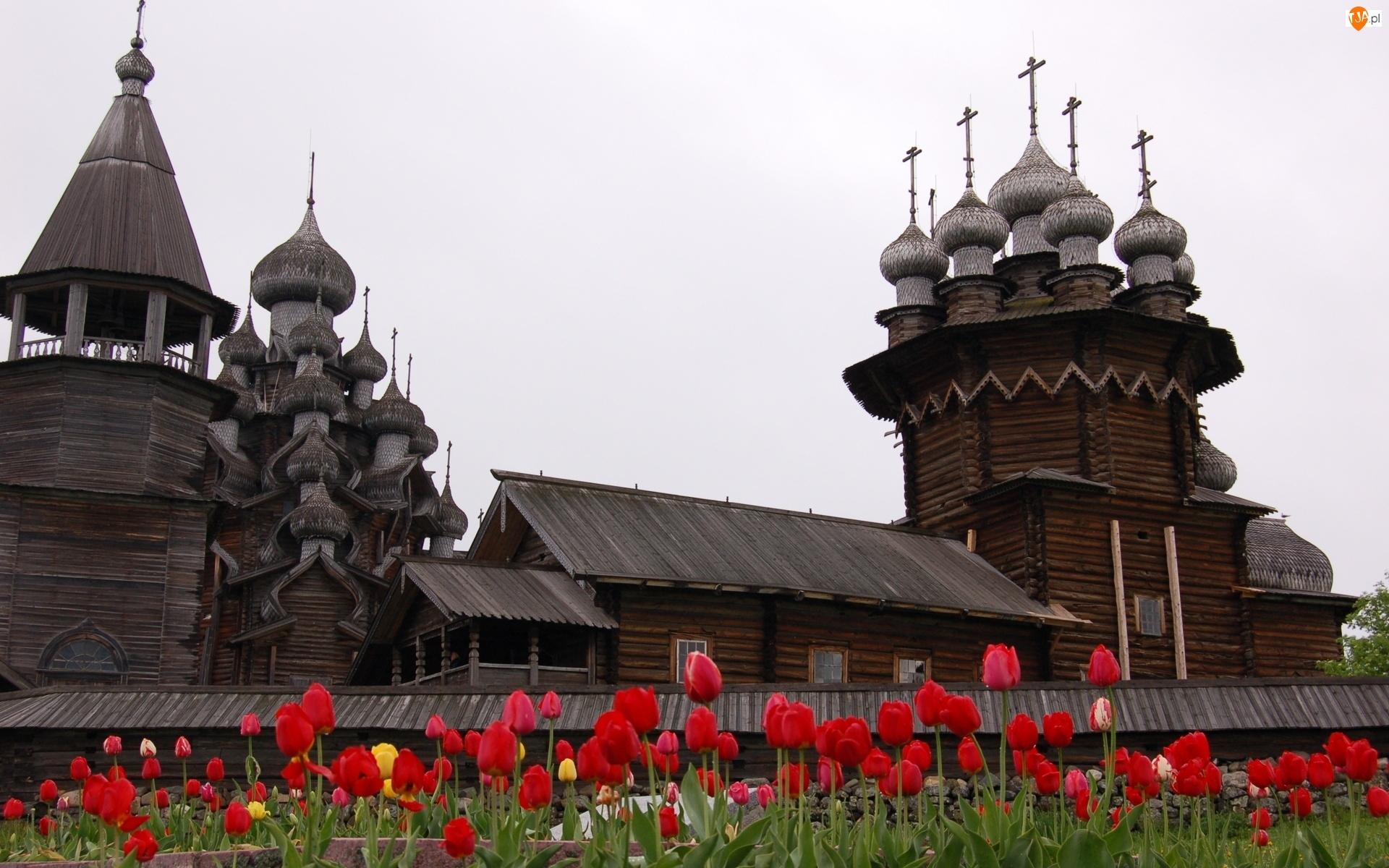 Tulipany, Karelia, Drewniane, Kiży, Cerkwie