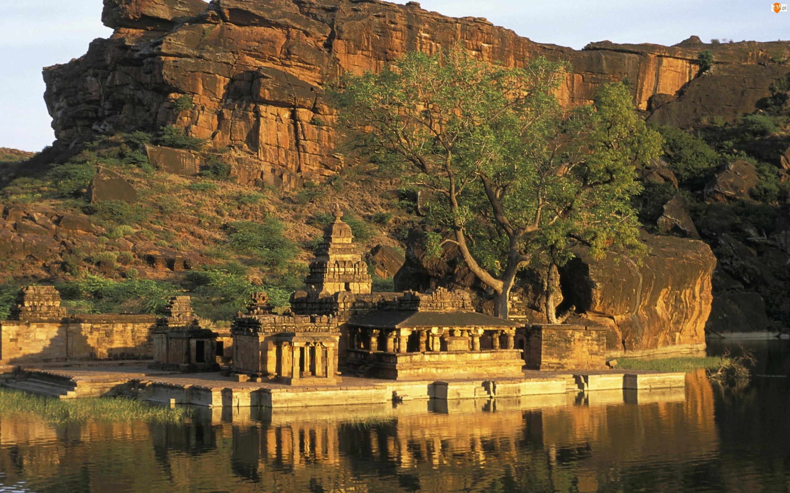 Świątynia, Skały, Karnataka, Indie