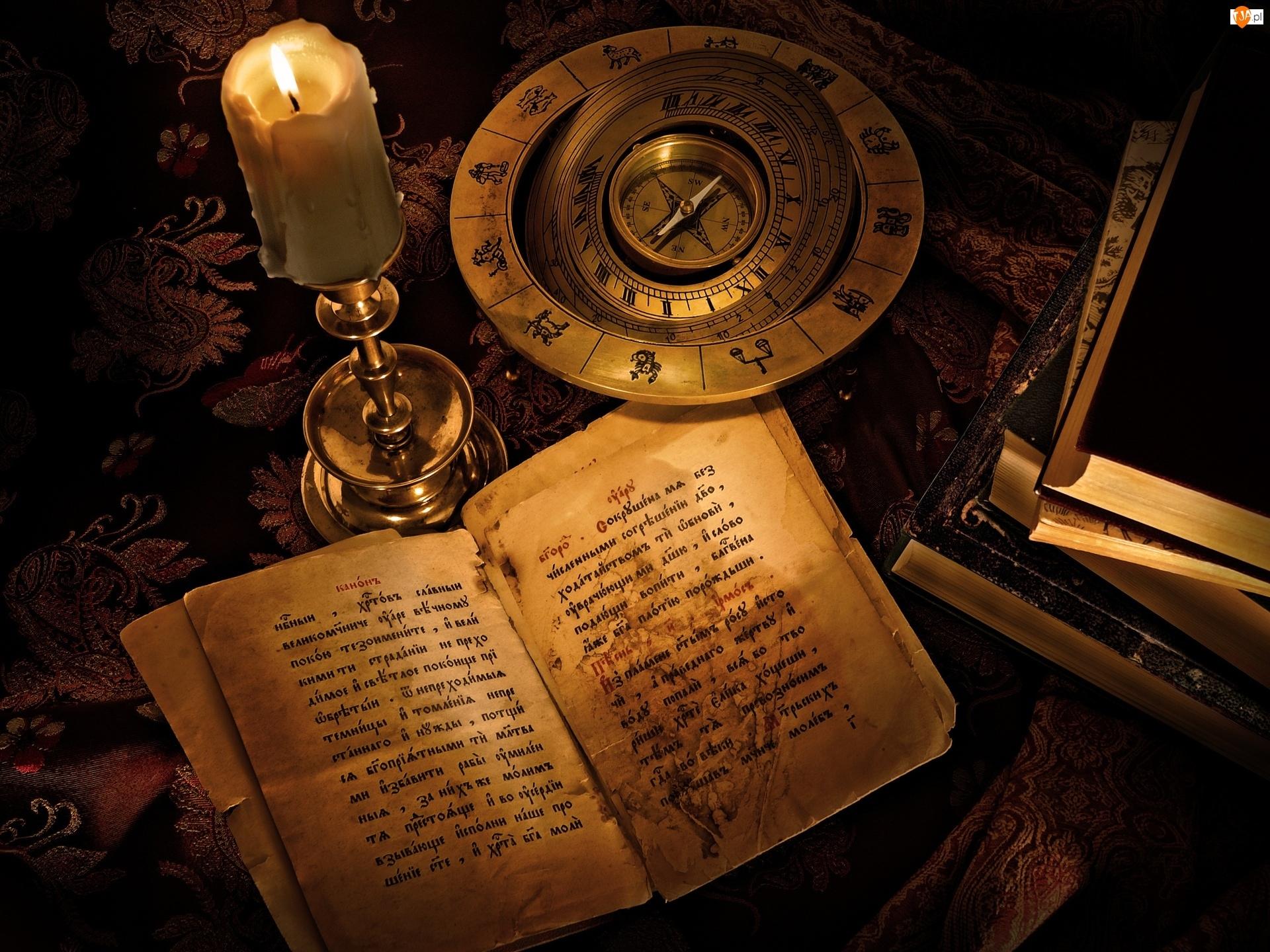 Kompozycja, Kompas, Świeca, Książki