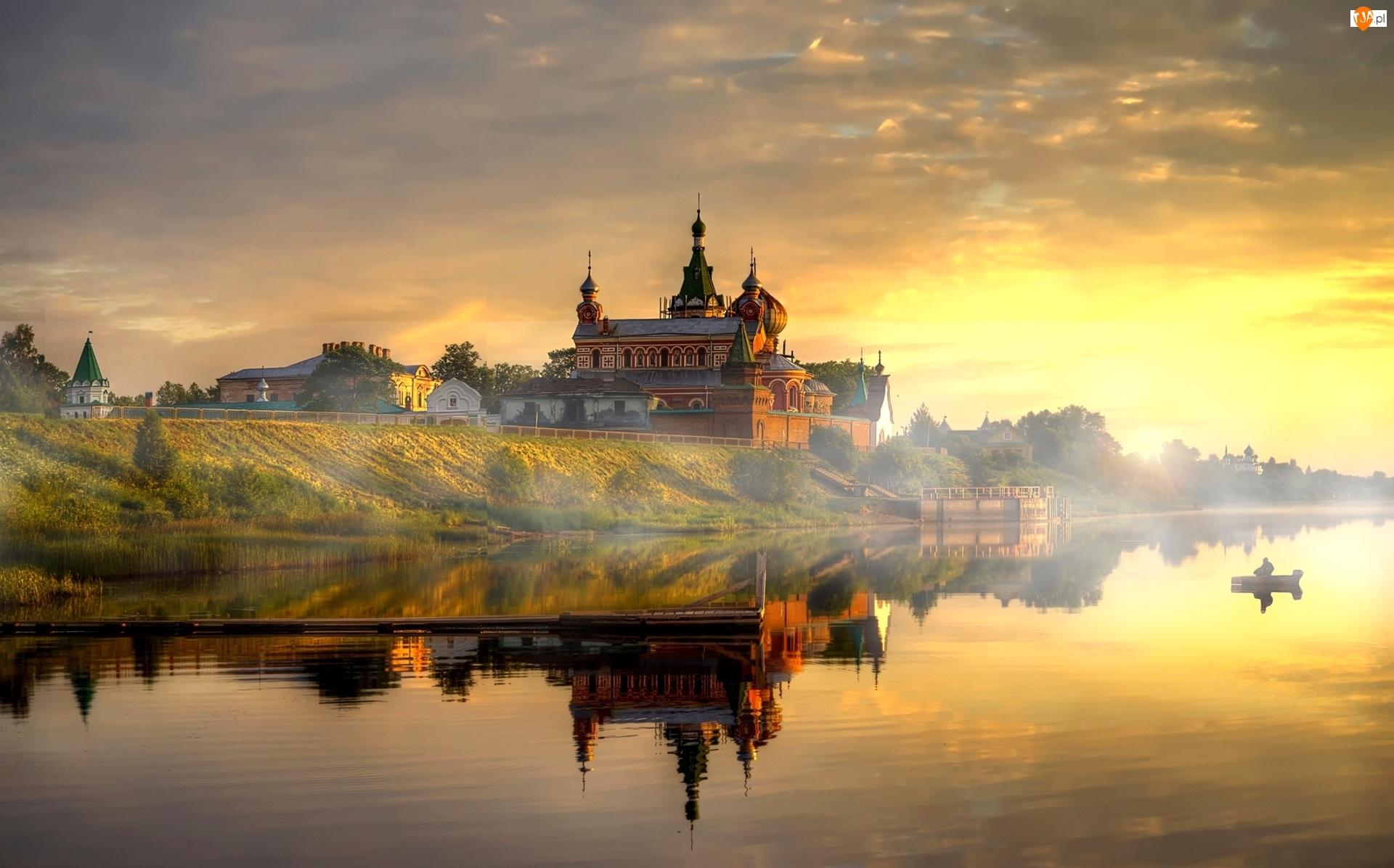 Cerkiew, Jezioro, Słońca, Zachód, Mgła