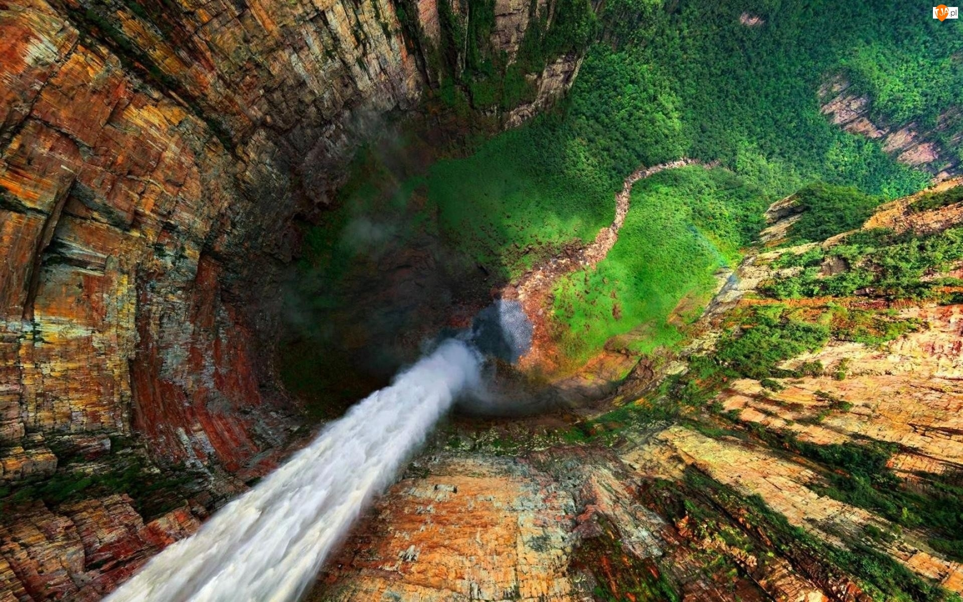 Wodospad, Z lotu ptaka