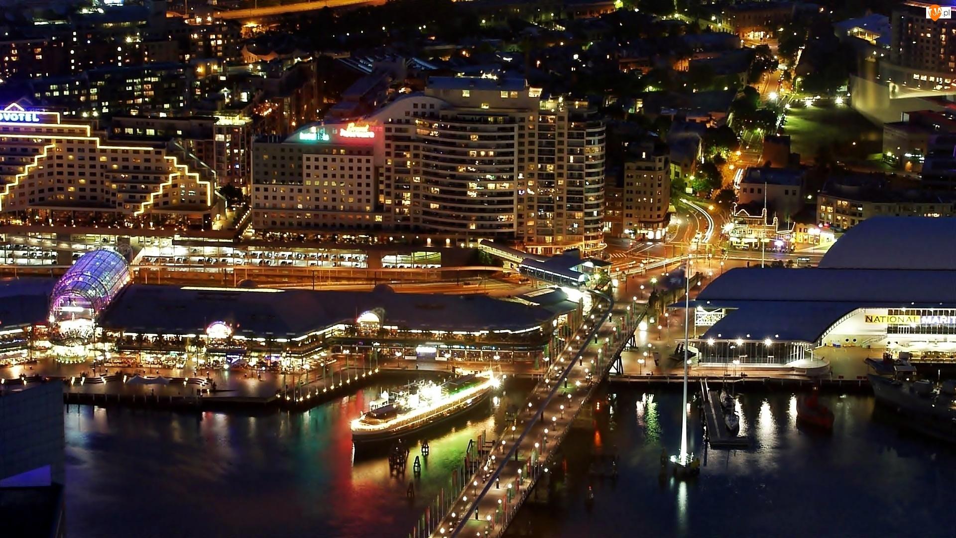 Harbour, Most, Port, Nocą, Chmur, Miasta, Drapacze, Fragment, Statek, Sydney