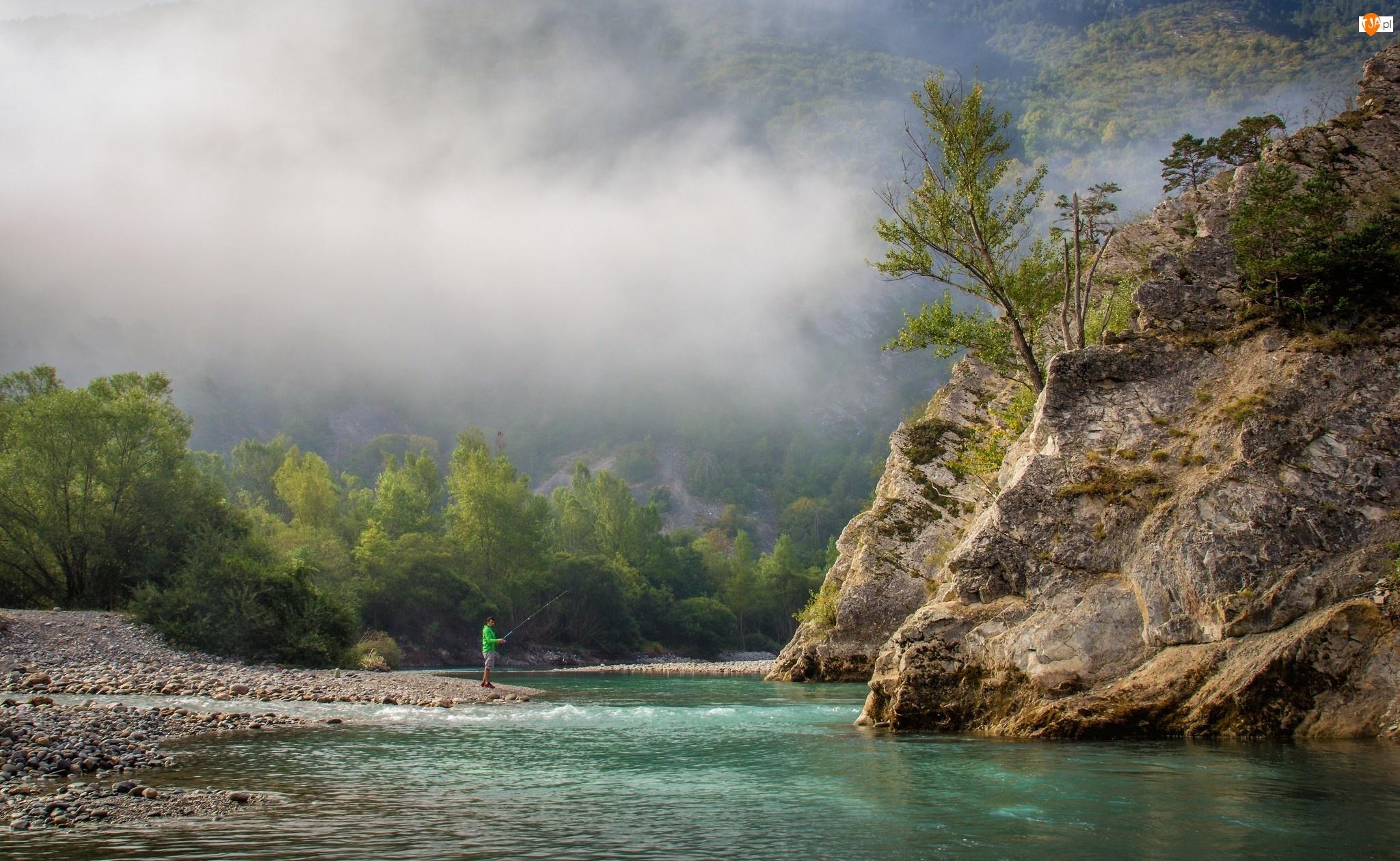 Skały, Wędkarz, Mgła, Rzeka