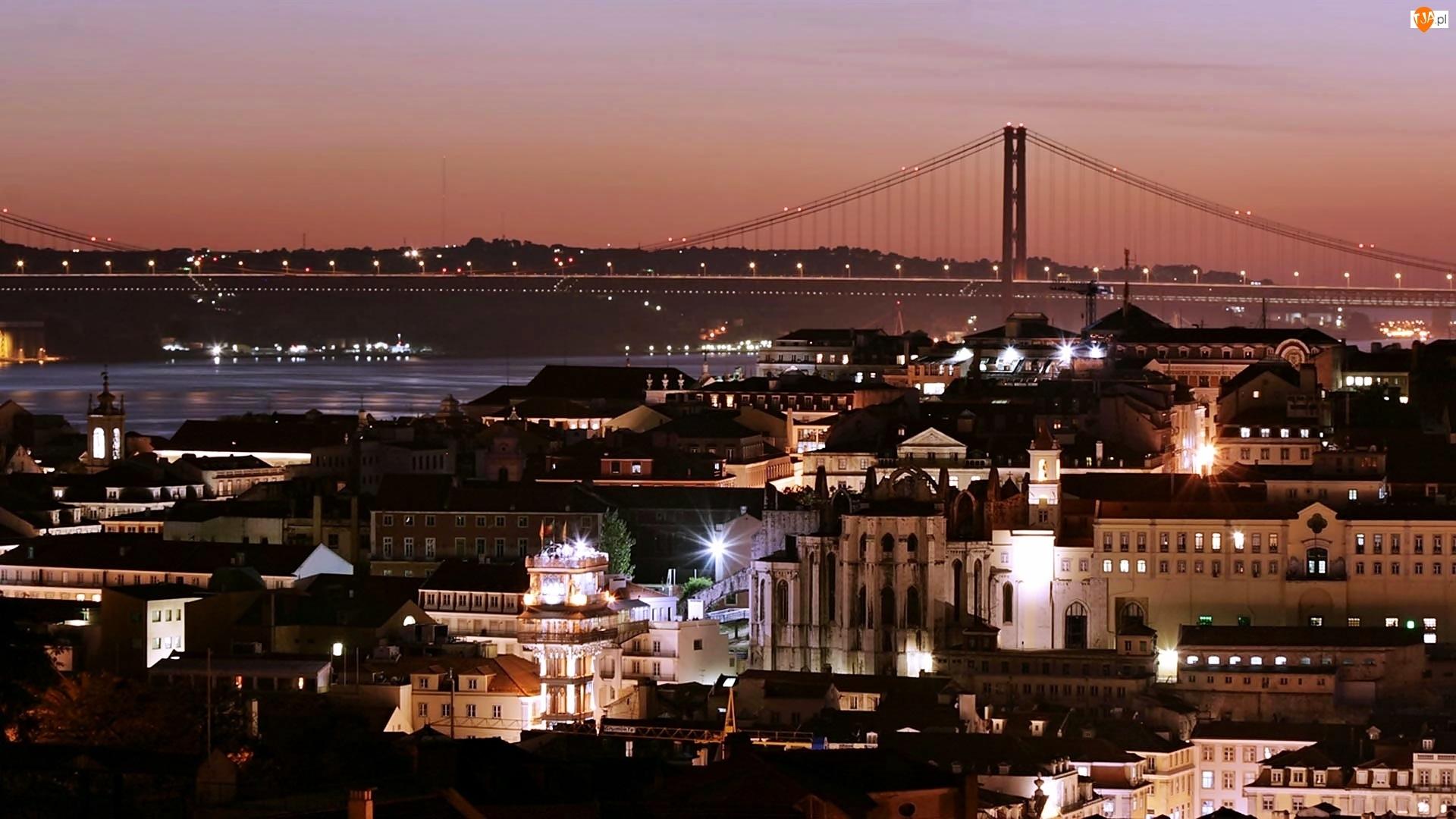 Nocą, Most, Lizbona, Budynki, Miasto