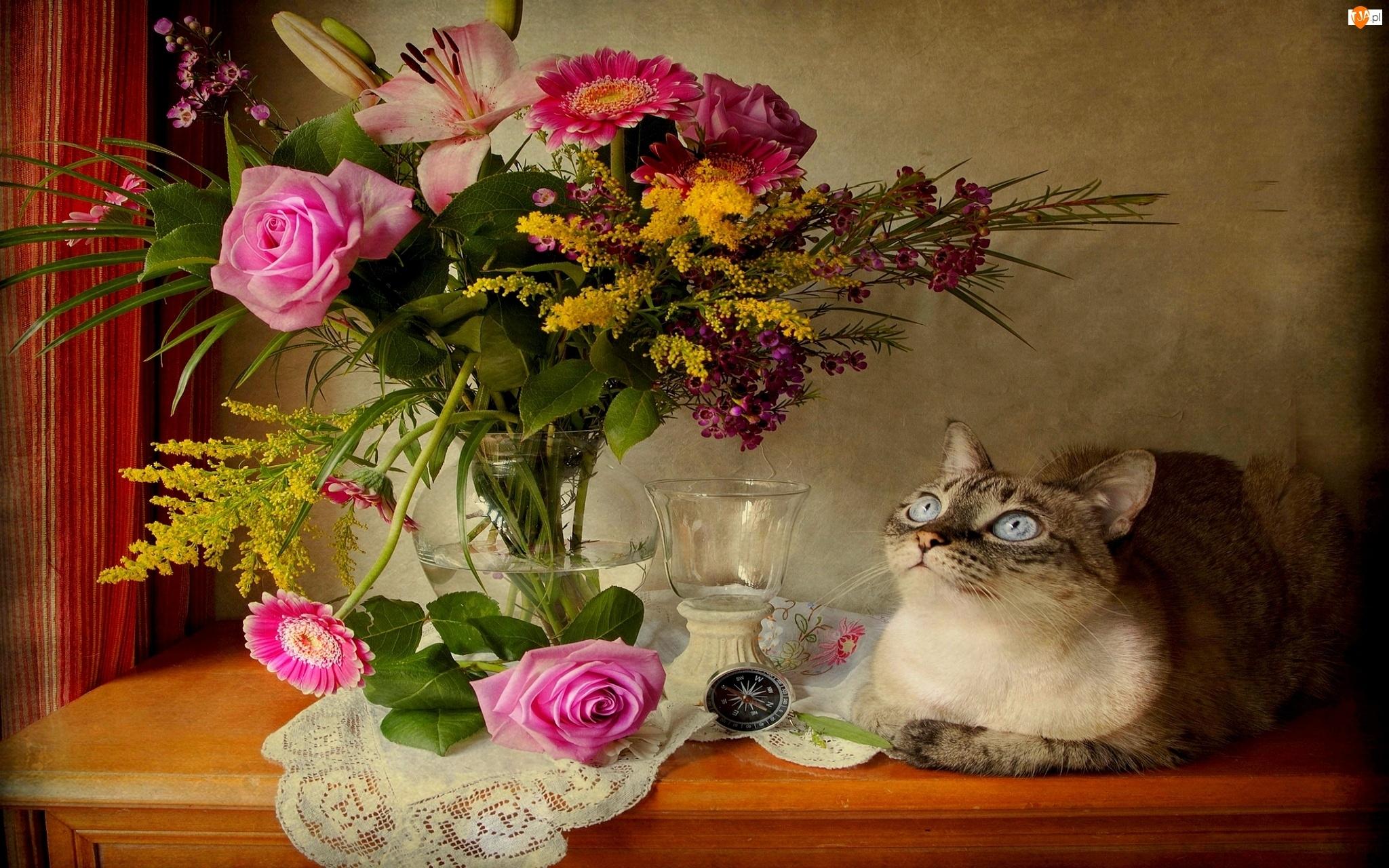 Kompozycja, Flakon, Bukiet Kwiatów