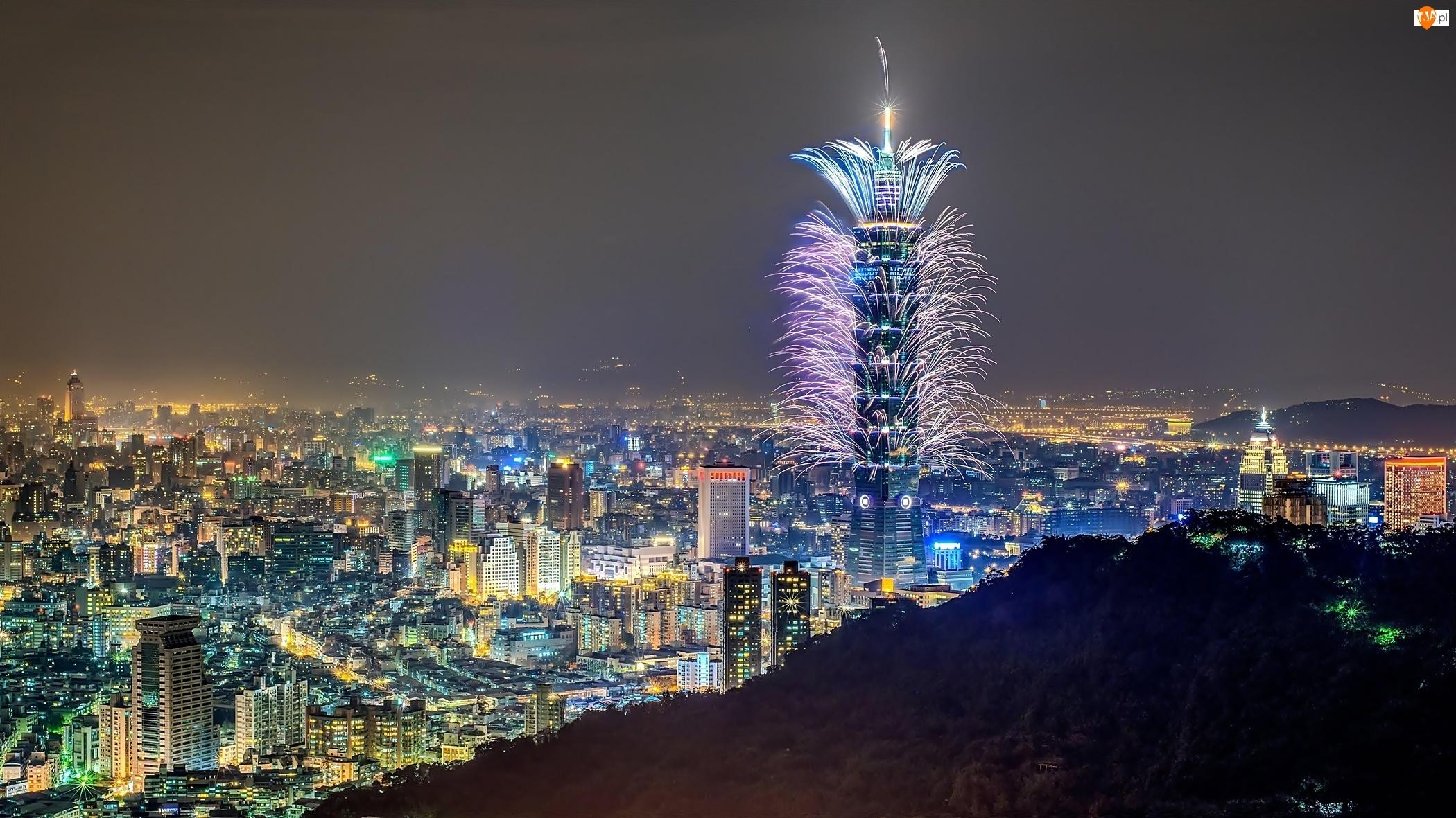 Chmur, Noc, Taipei, Chiny, Fajerwerki, Miasto, Drapacz