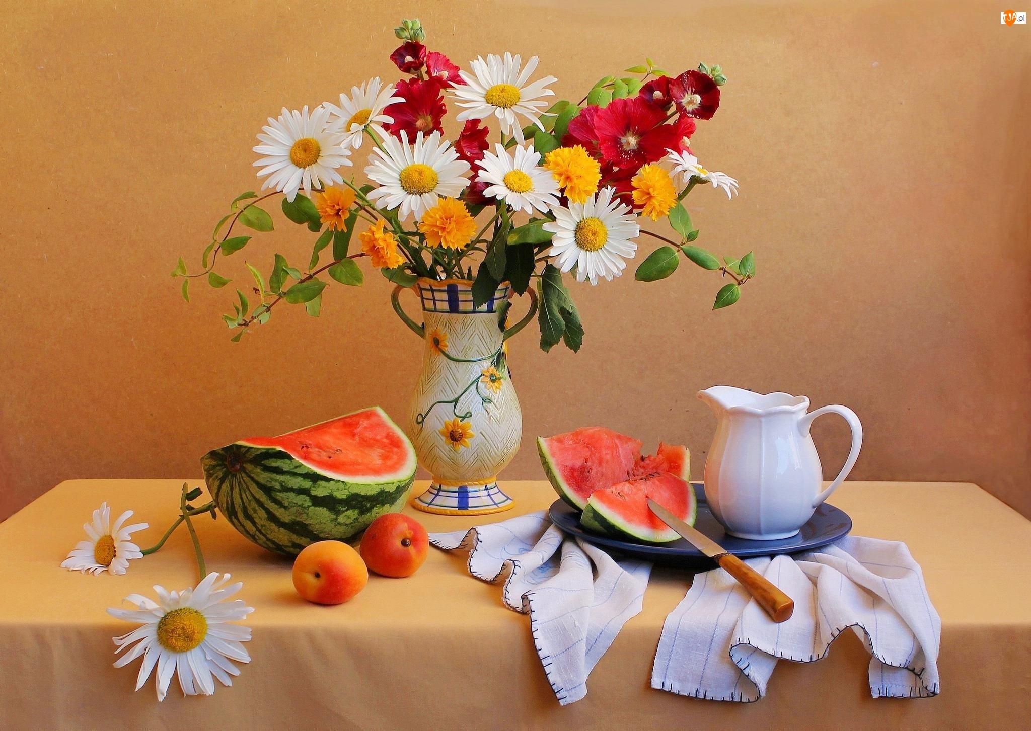 Kompozycja, Flakon, Dzbanuszek, Arbuz, Bukiet Kwiatów