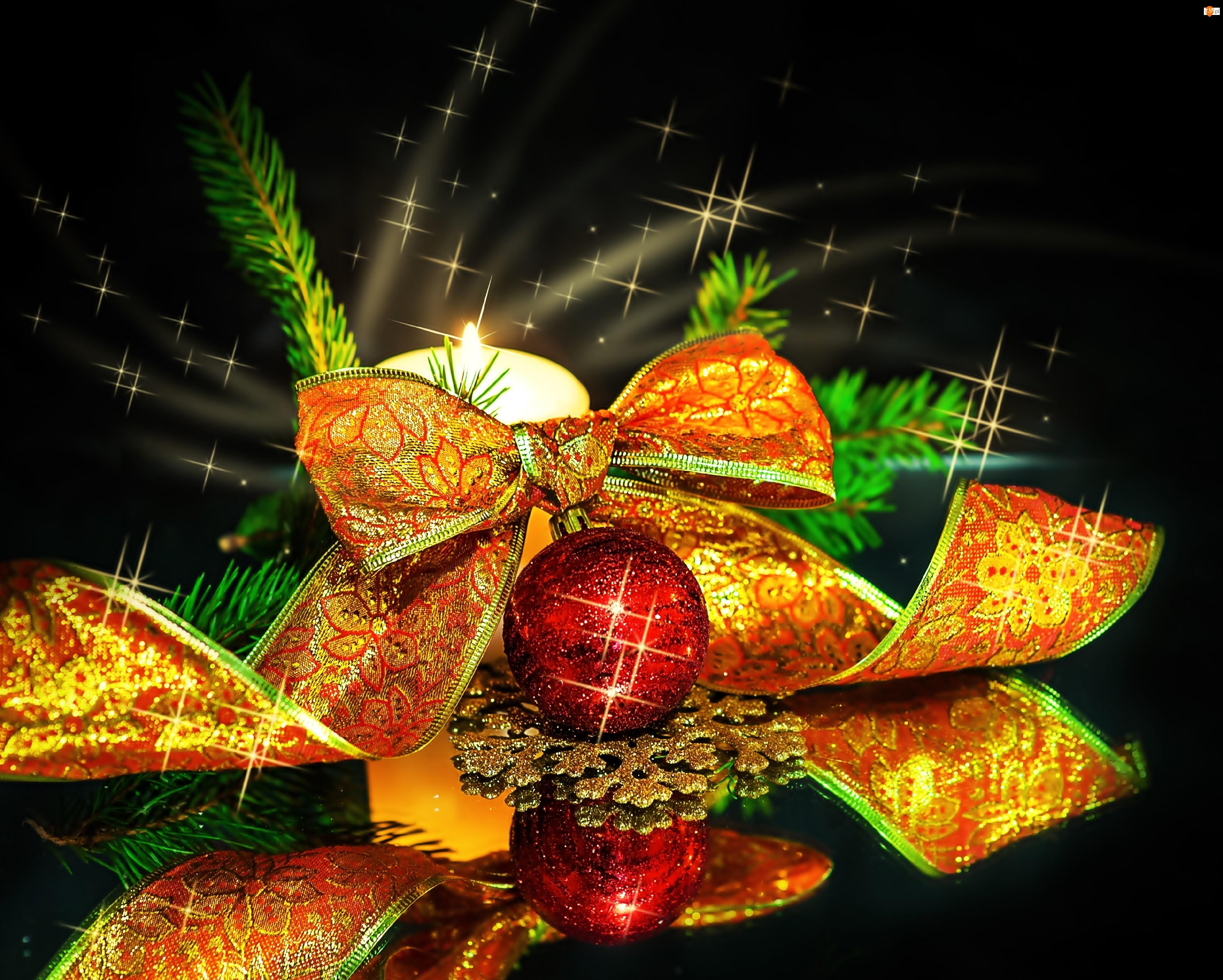 Stroik, Świeca, Dekoracja, Wstążka, Boże Narodzenie, Bombka