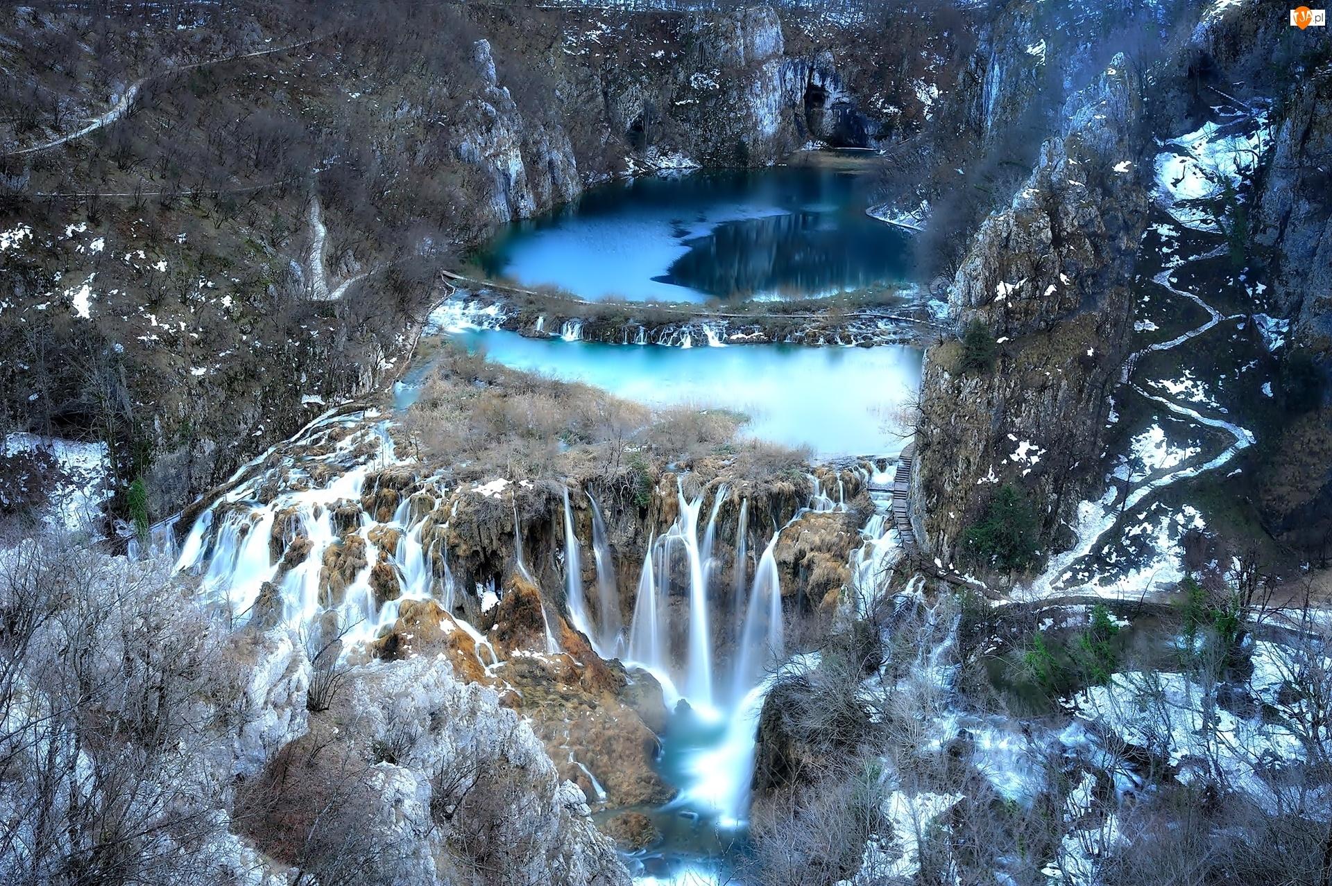 Wodospad, Plitvice, Chorwacja, Z lotu ptaka, Skały, Park Narodowy