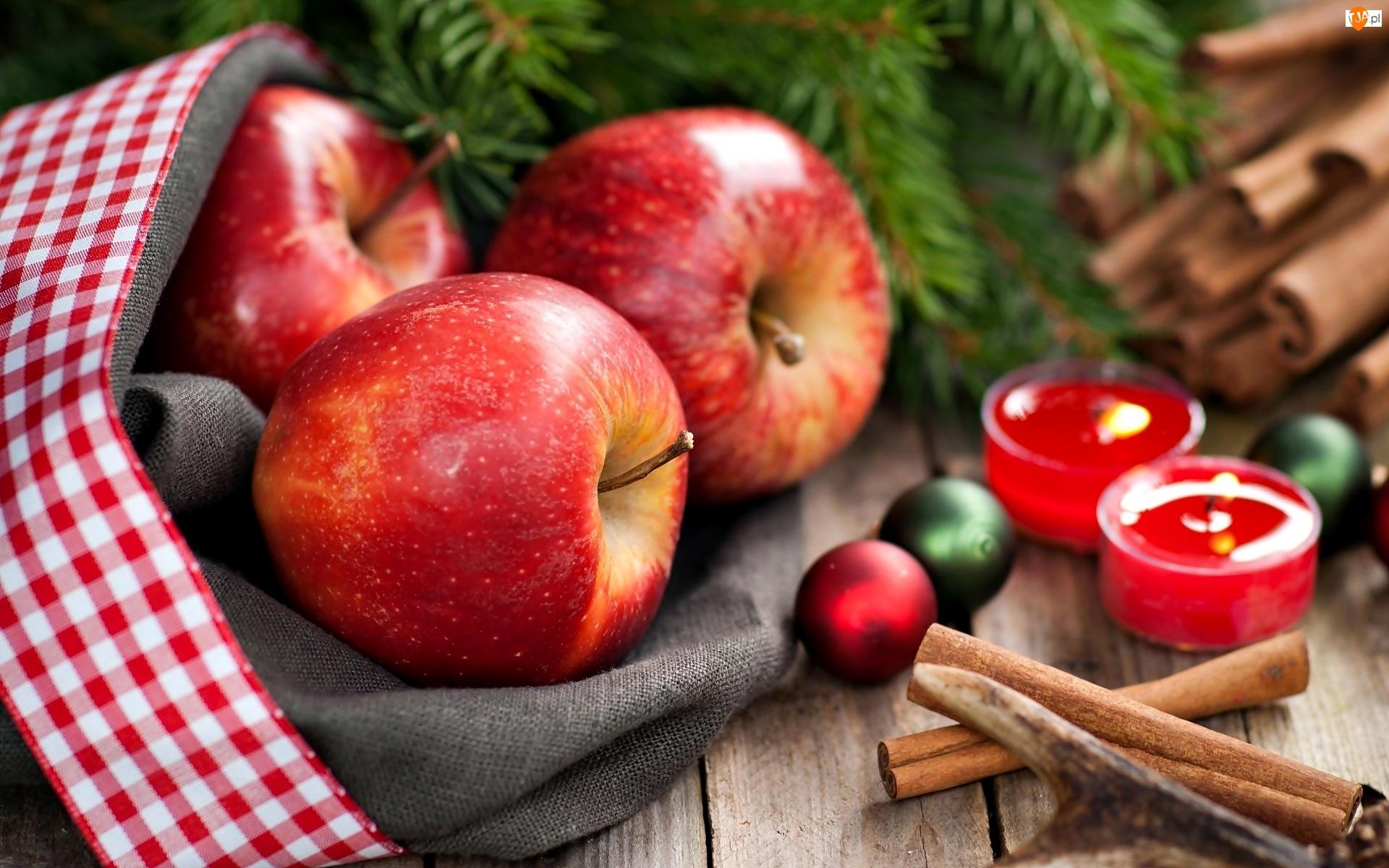 Świeczki, Jabłka, Cynamon
