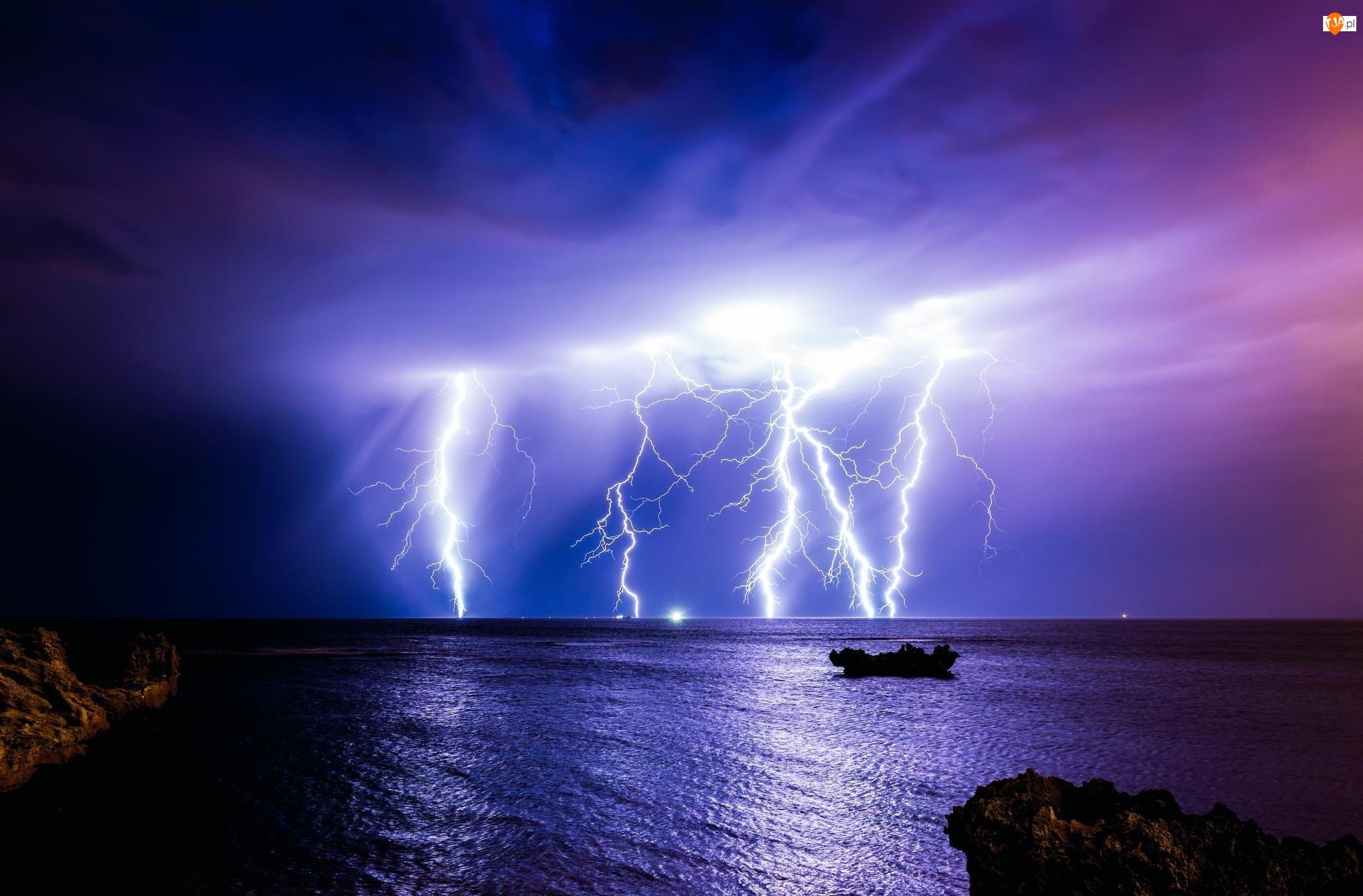 Noc, Burza, Błyskawica, Pioruny, Morze