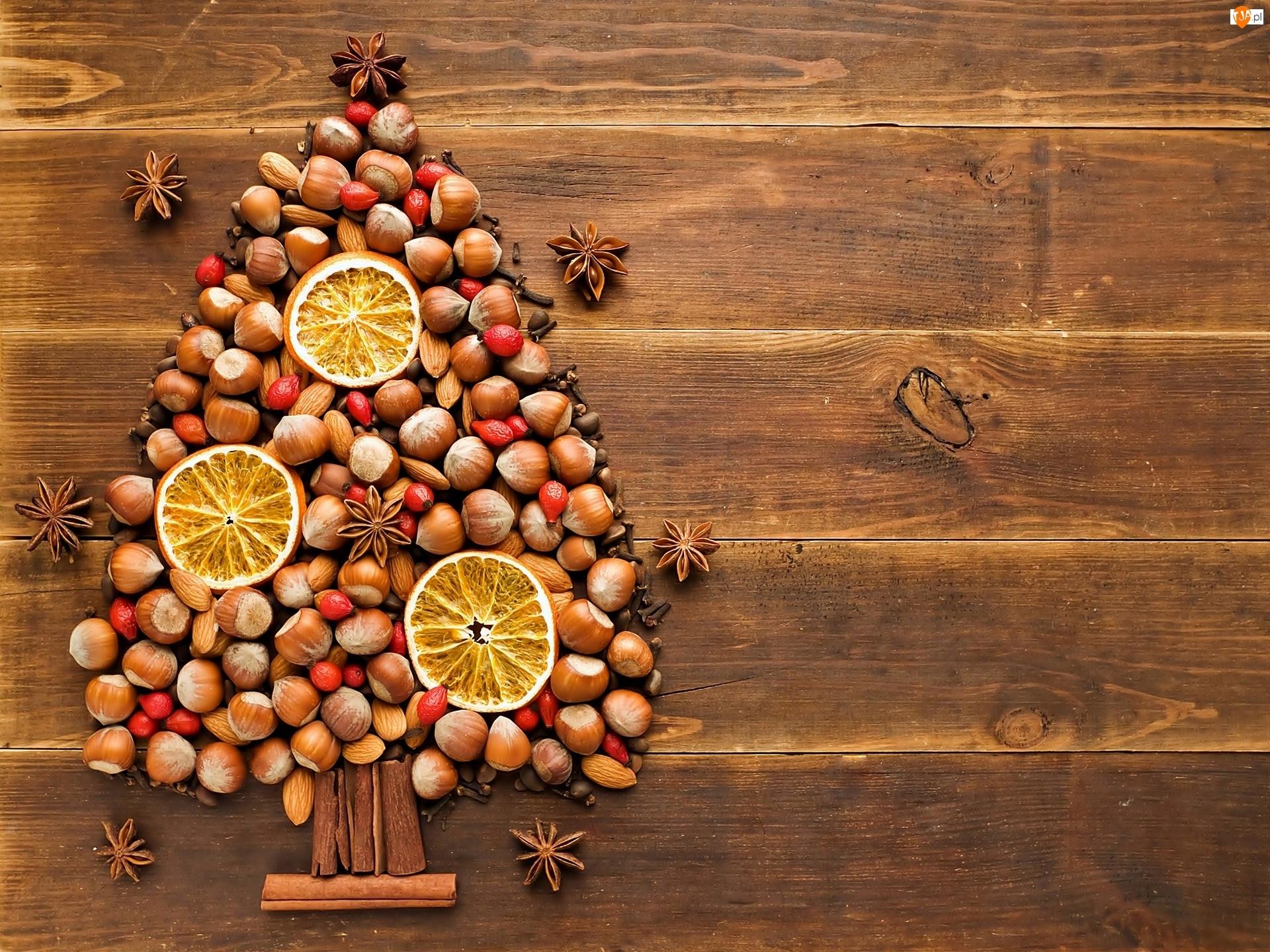 Świąteczne, Choinka, Cytryny, Orzechy, Cynamon