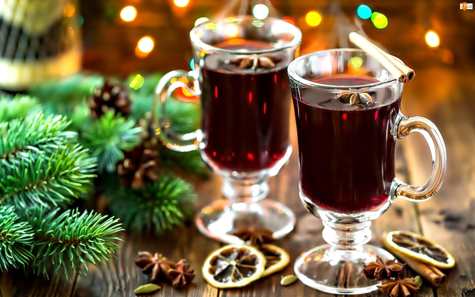 Wino, Cytryny, Świąteczne, Gałązki, Grzane, Cynamon
