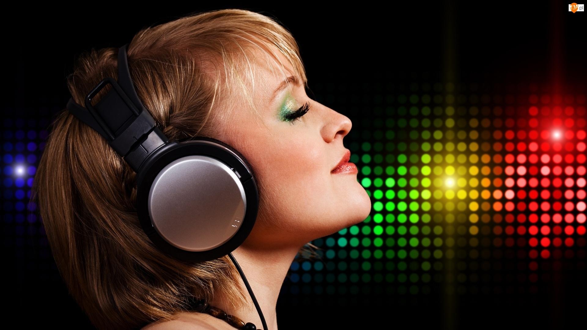 Blondynka, Muzyka, Słuchawki, Makijaż