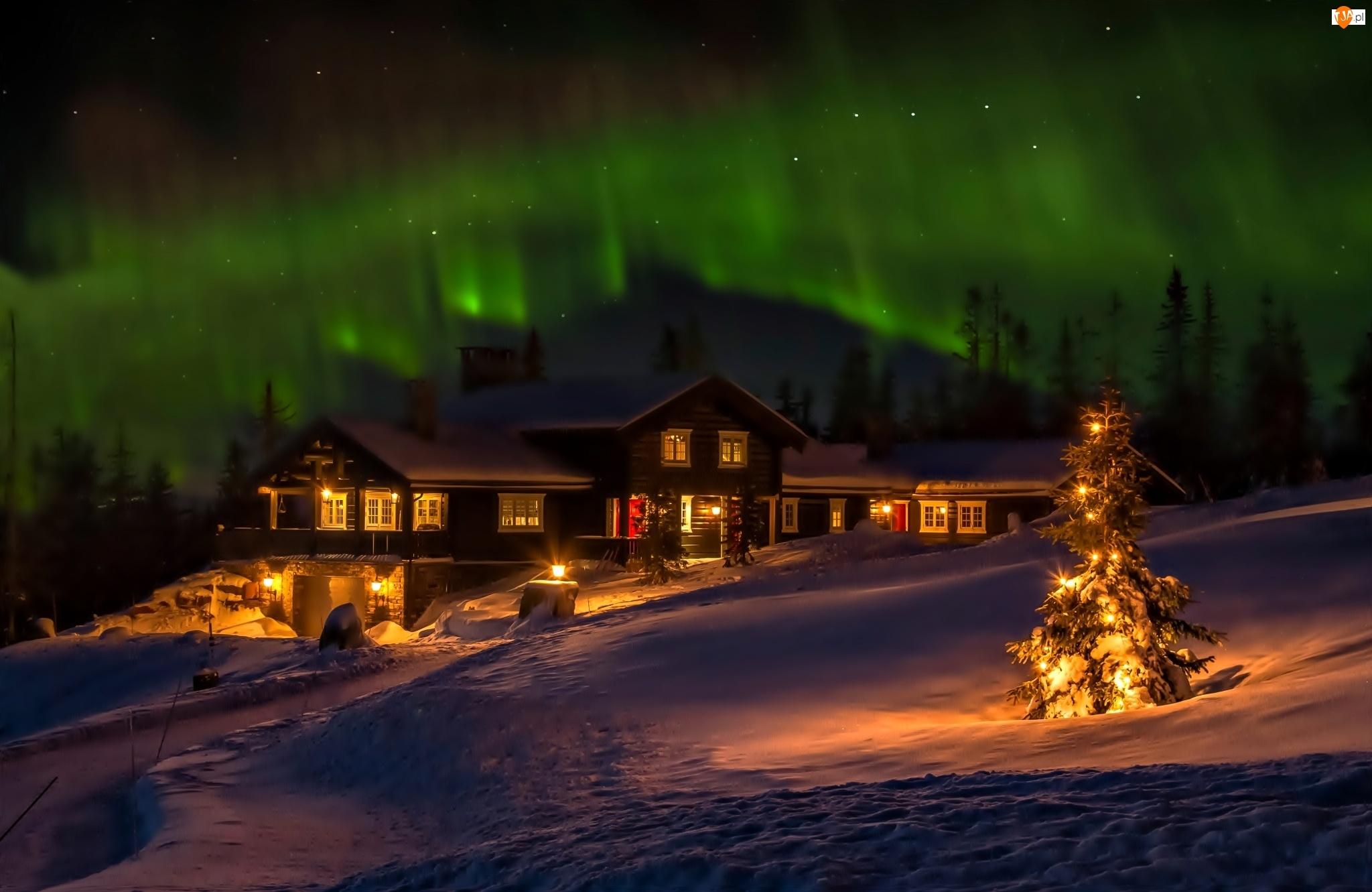 Zorza Polarna, Śnieg, Oświetlony Dom, Noc