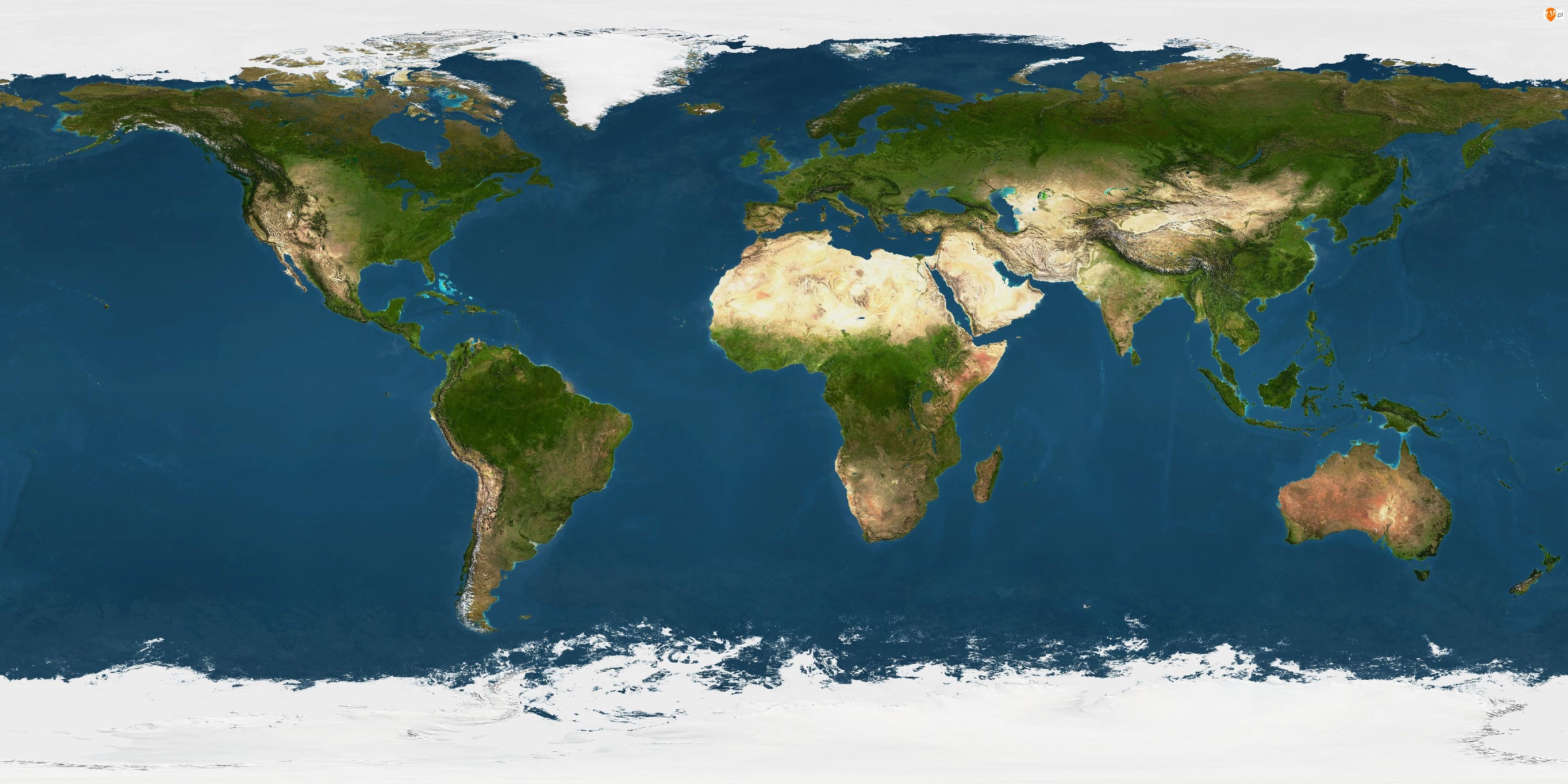 Mapa Świata, Kontynenty