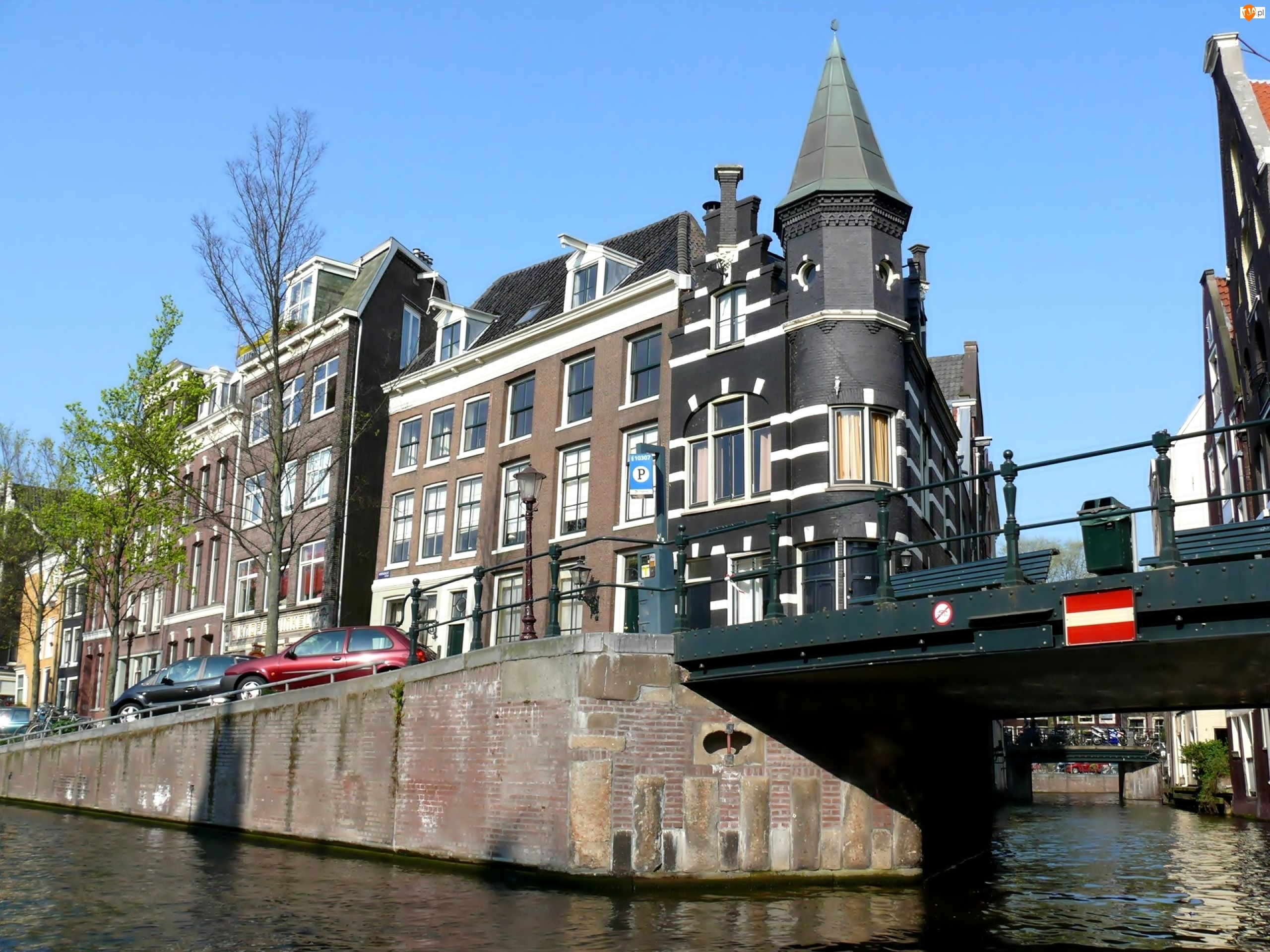 Miasto, Holandia, Kanał, Kamienica, Most