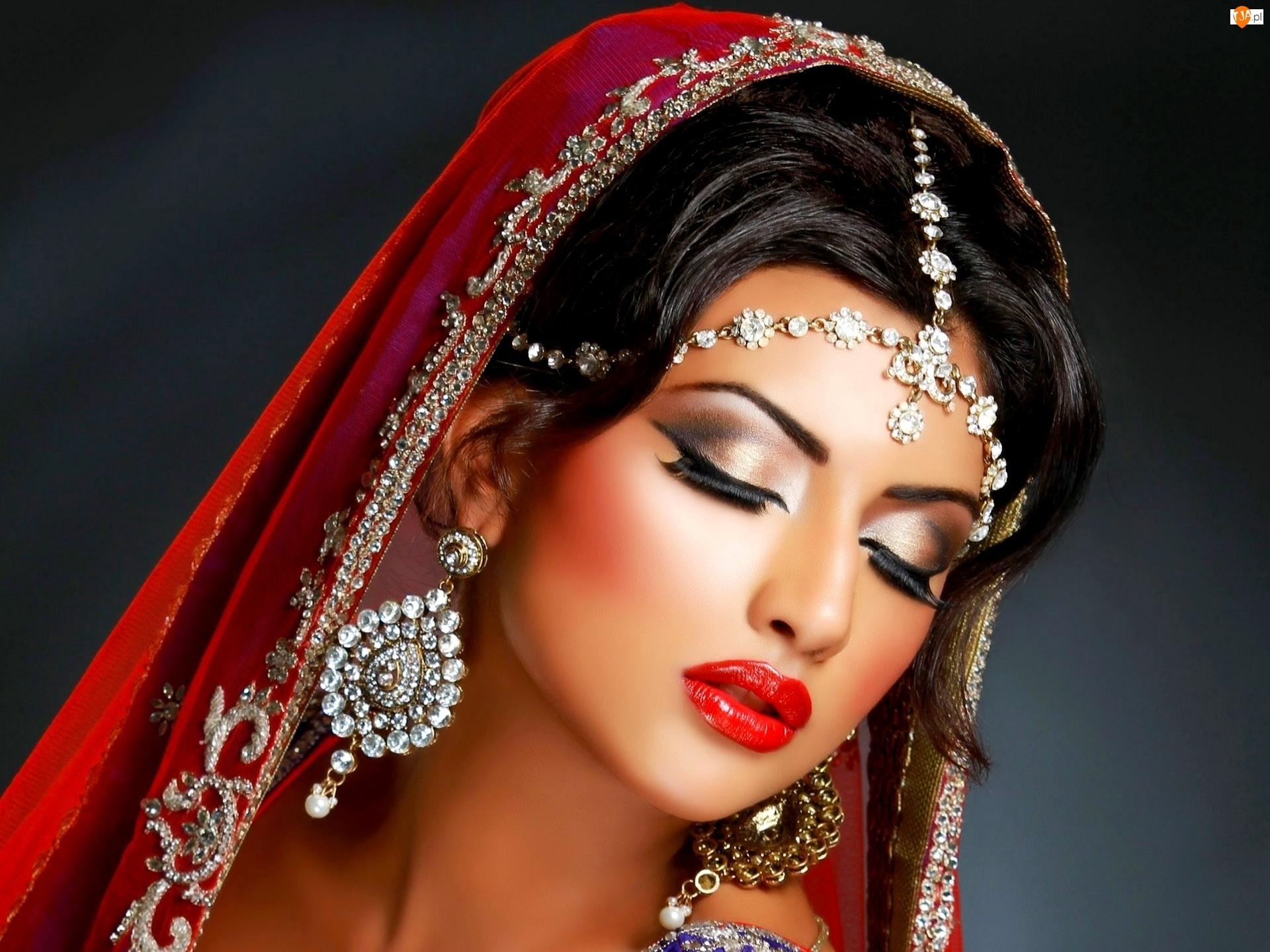 Strój, Kobieta, Biżuteria, Makijaż, Orientalny