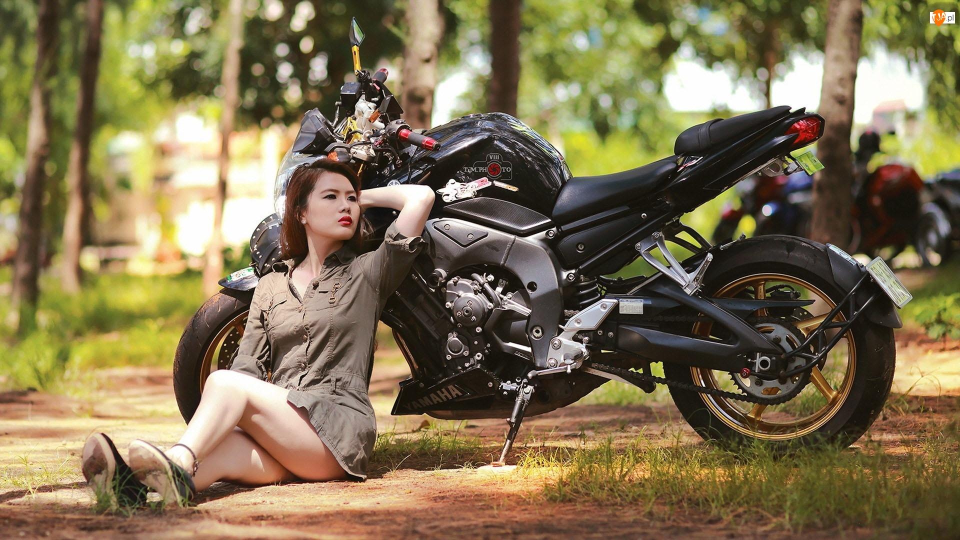 Azjatka, Yamaha, Sportowy, Motor, Kobieta